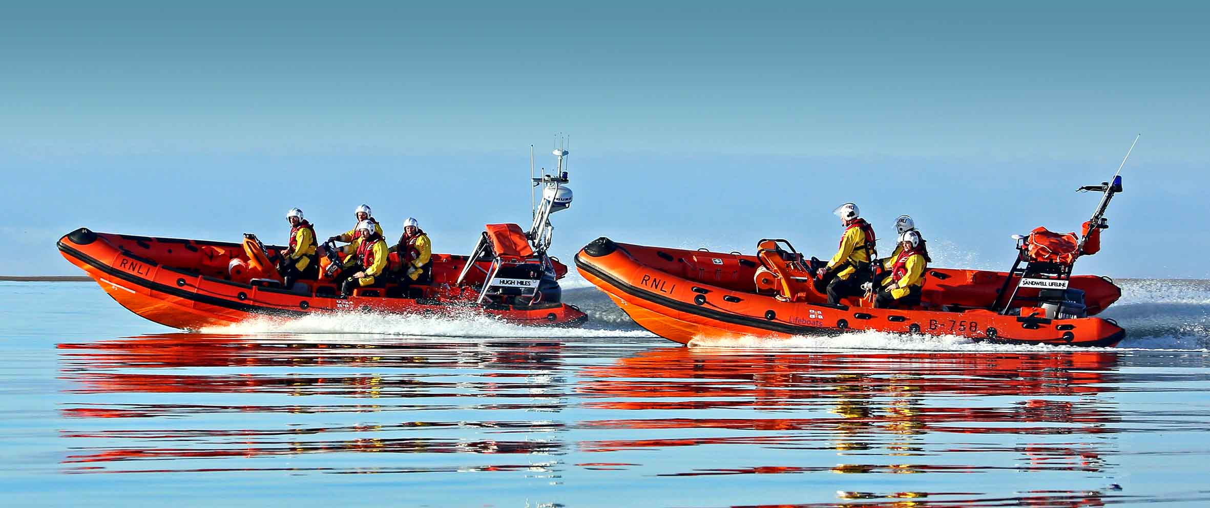 Attached are pictures of Aberdyfi RNLI's Atlantic 75 lifeboat Sandwell Lifeline and the station's new Atlantic 85 class lifeboat Hugh Miles on a final training exercise before the Sandwell Lifeline leaves Aberdyfi.