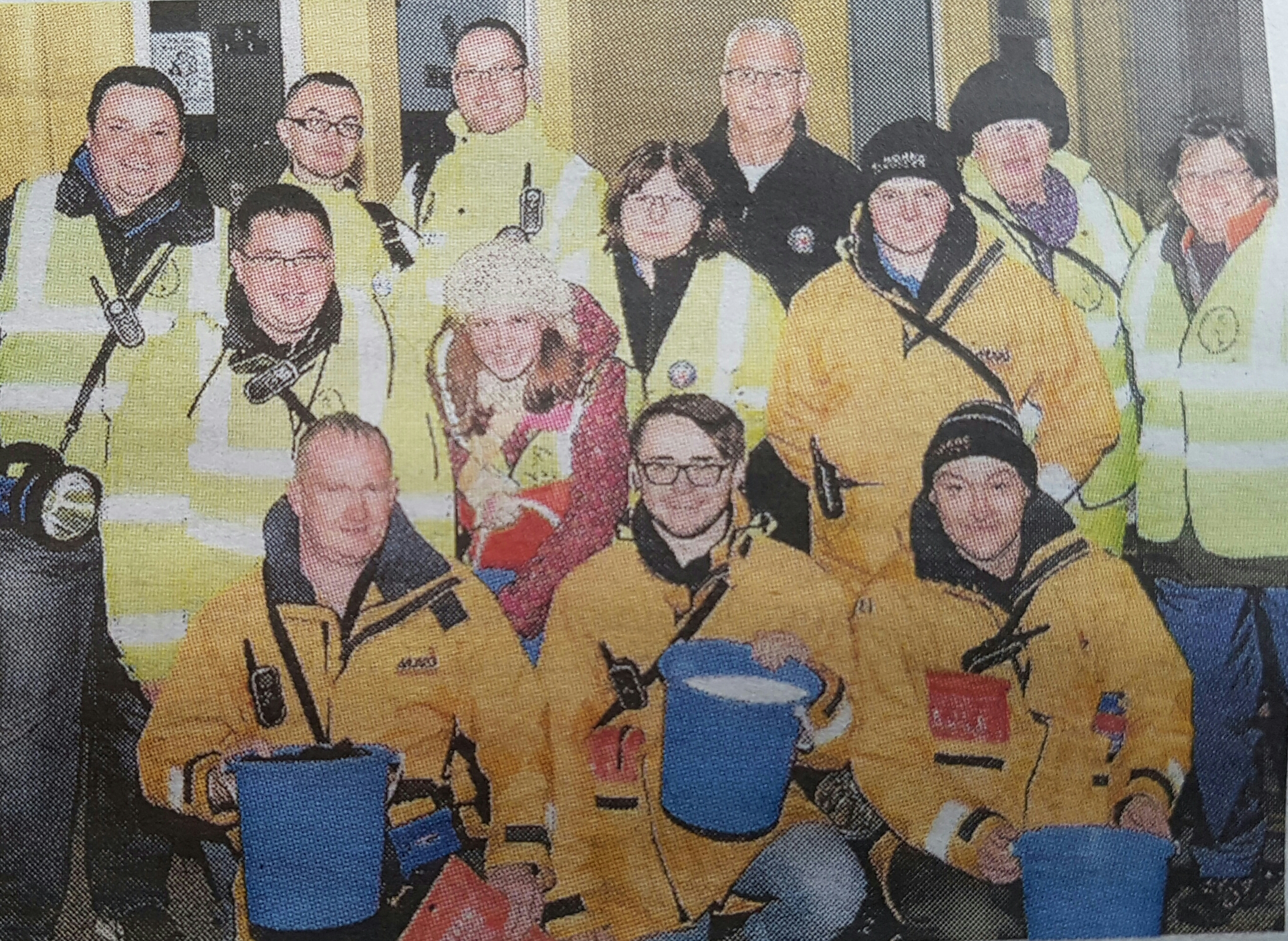 Pictured from local newspaper are some of our volunteer crew alongside other safety volunteers