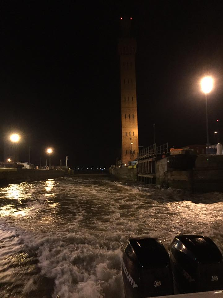 Grimsby Dock Tower at night from casualty vessel