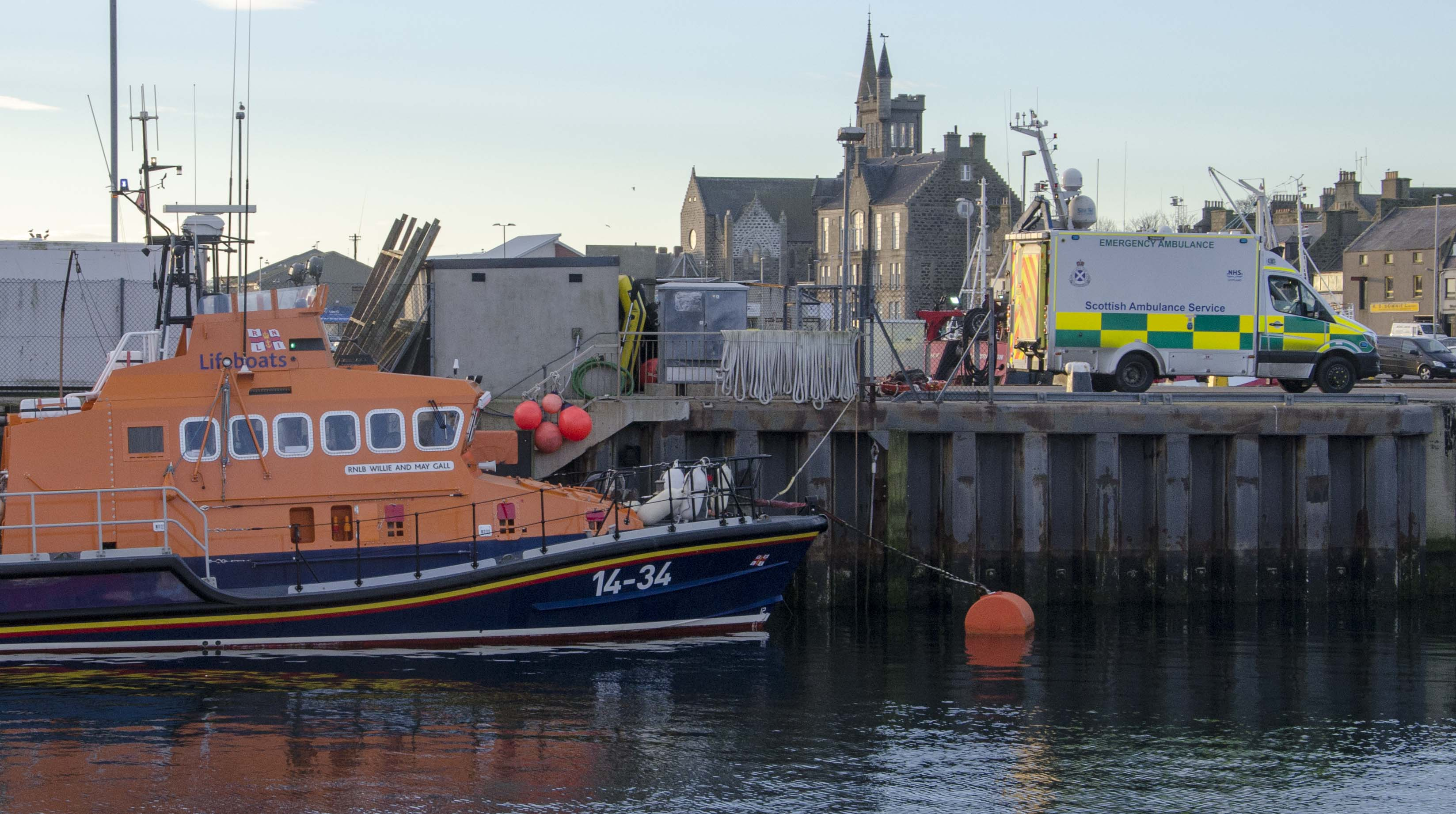 The casualty was immediately transferred to a waiting ambulance at the lifeboat berth.