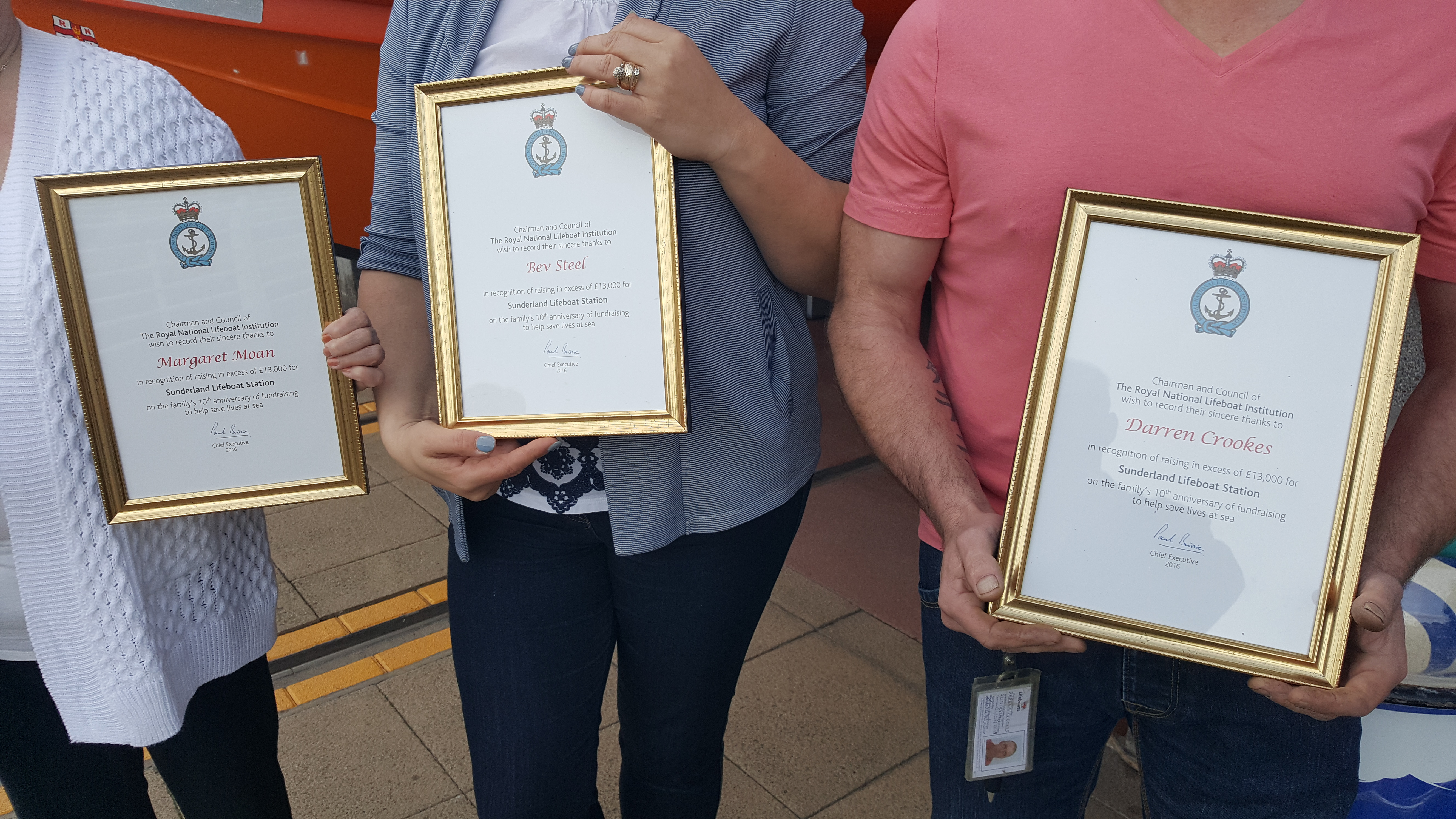 RNLI awards for fundraisers Margaret Moan, Bev Steel, and Darren Crookes