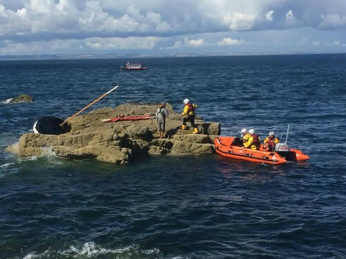 Evelyn M inshore lifeboat with Tula stricken vessel