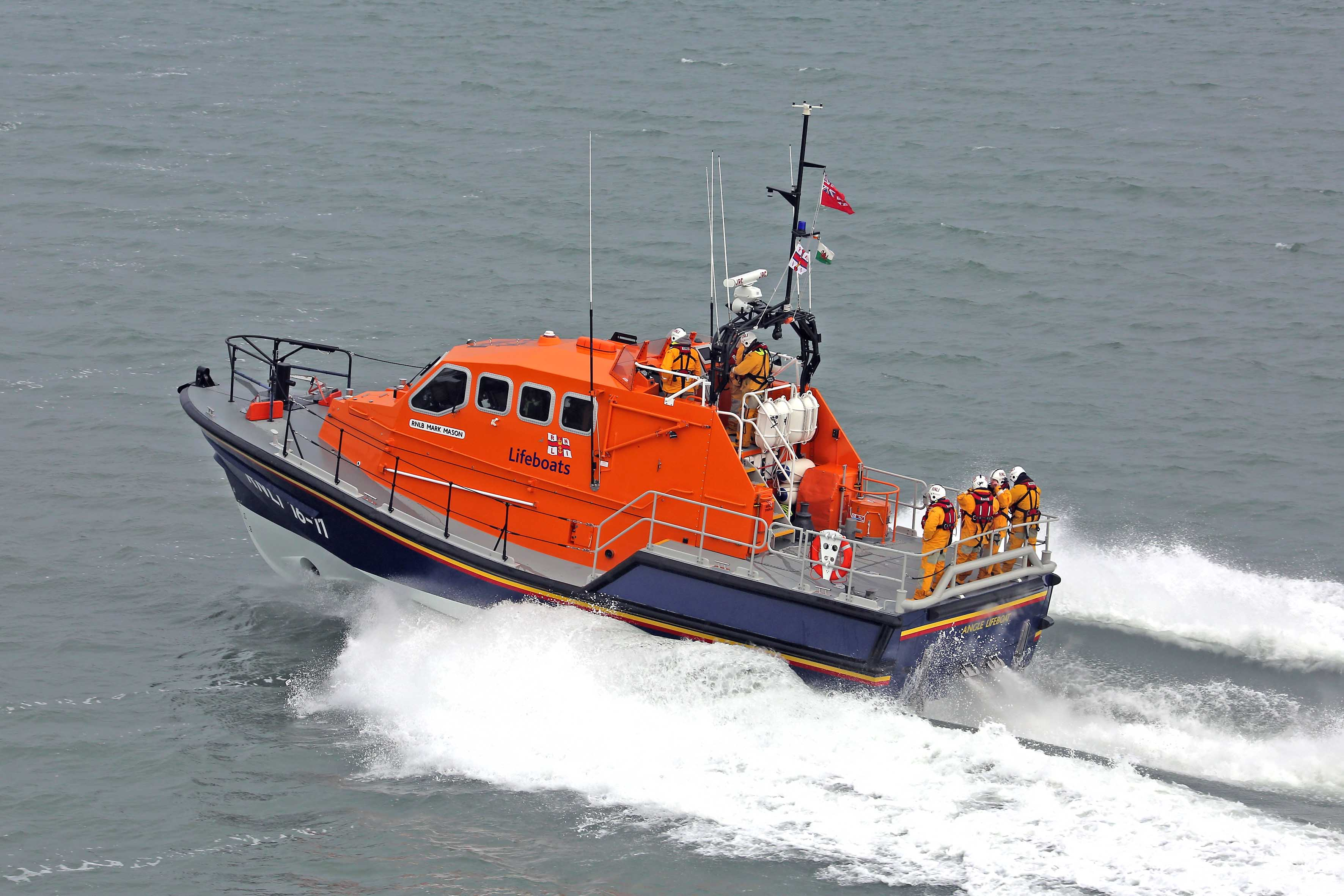 Angle RNLI's Tamar class all weather lifeboat Mark Mason, which went to the aid of a drifting fishing vessel 50 miles off St Ann's Head.