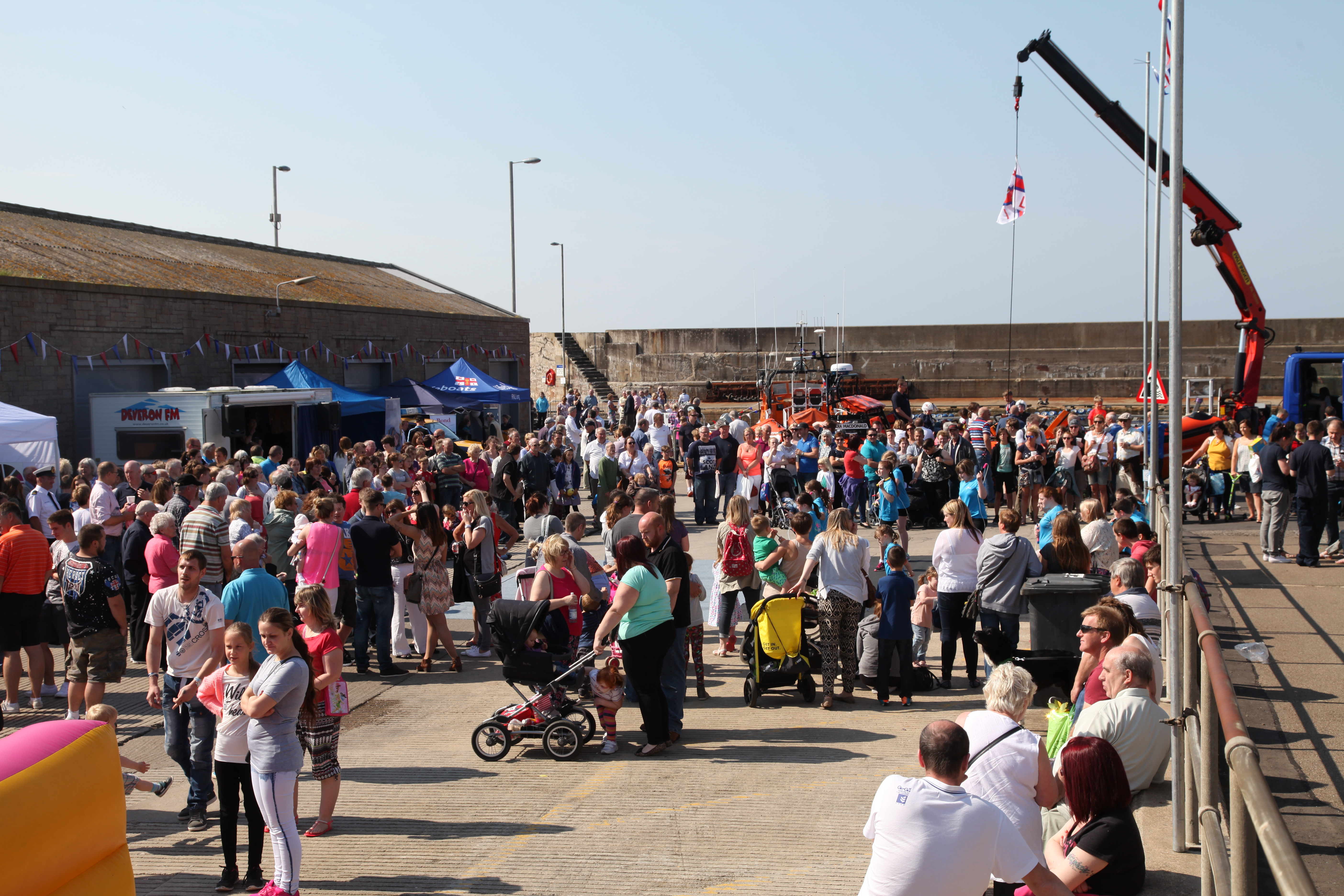Crowds outside the fish market at the 2015 Macduff lifeboat gala day