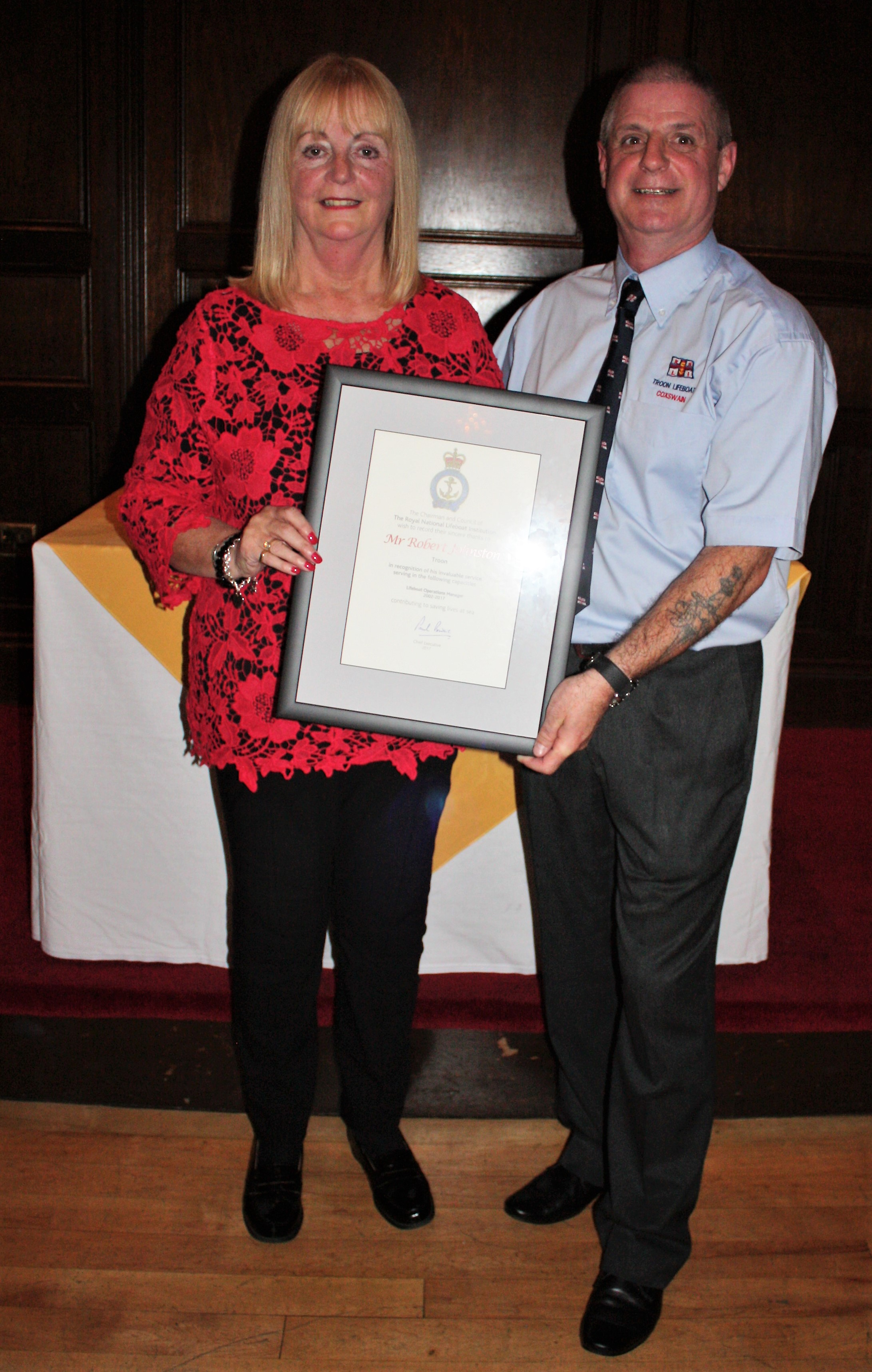 Certficate of Thanks presented to the sister of Lifeboat Operations Manager Bob Johnstone in his absence