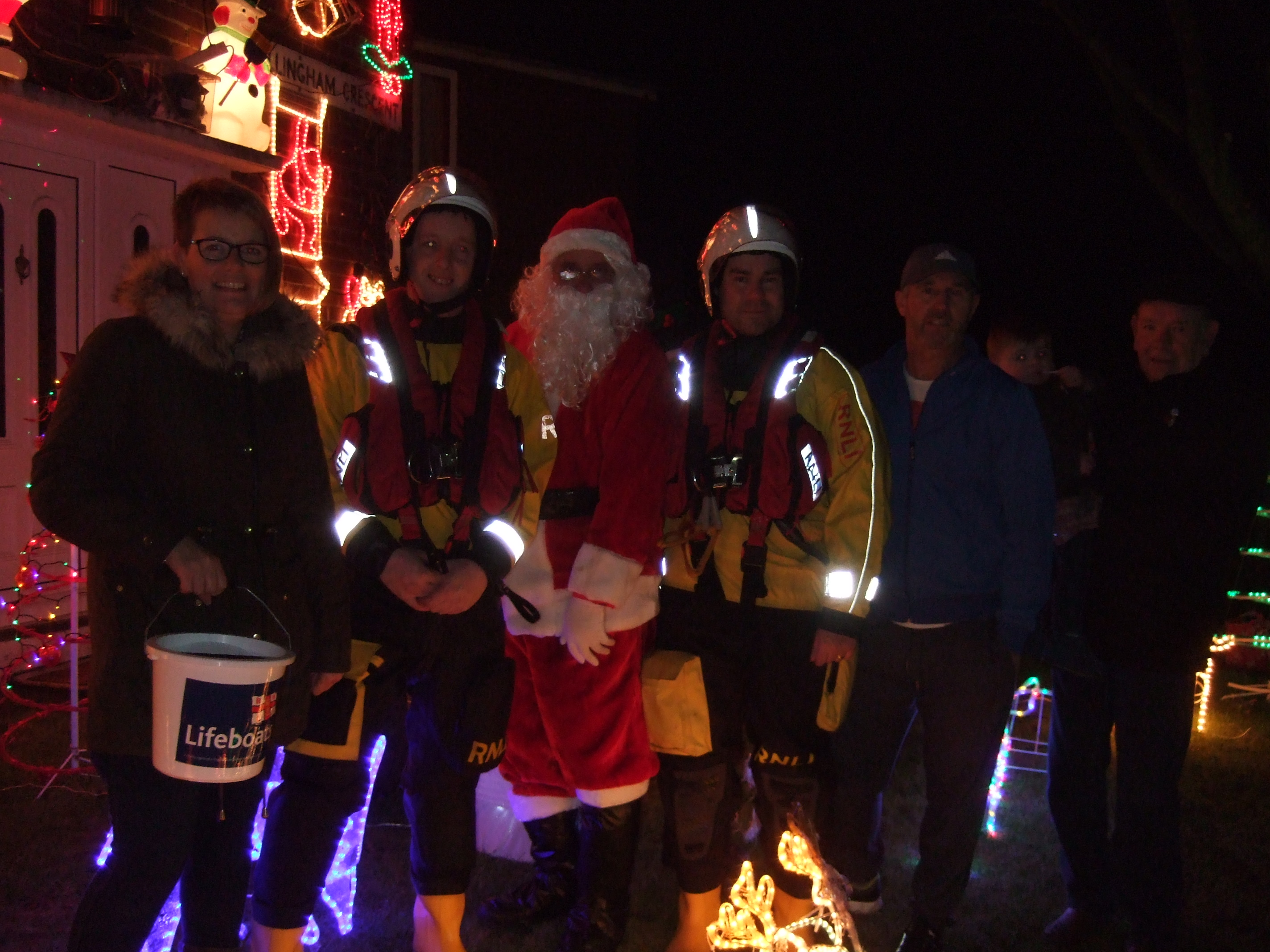 Volunteers from Newbiggin join Santa, Mark and Mark's family