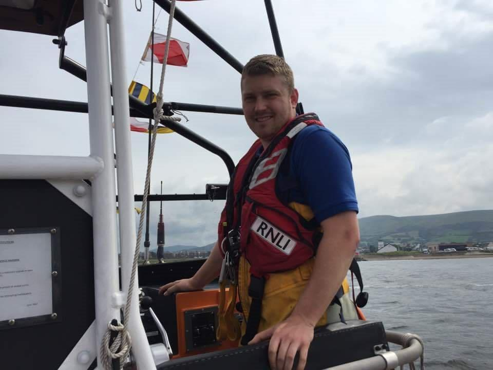 Callum Govus on board Girvan's existing lifeboat