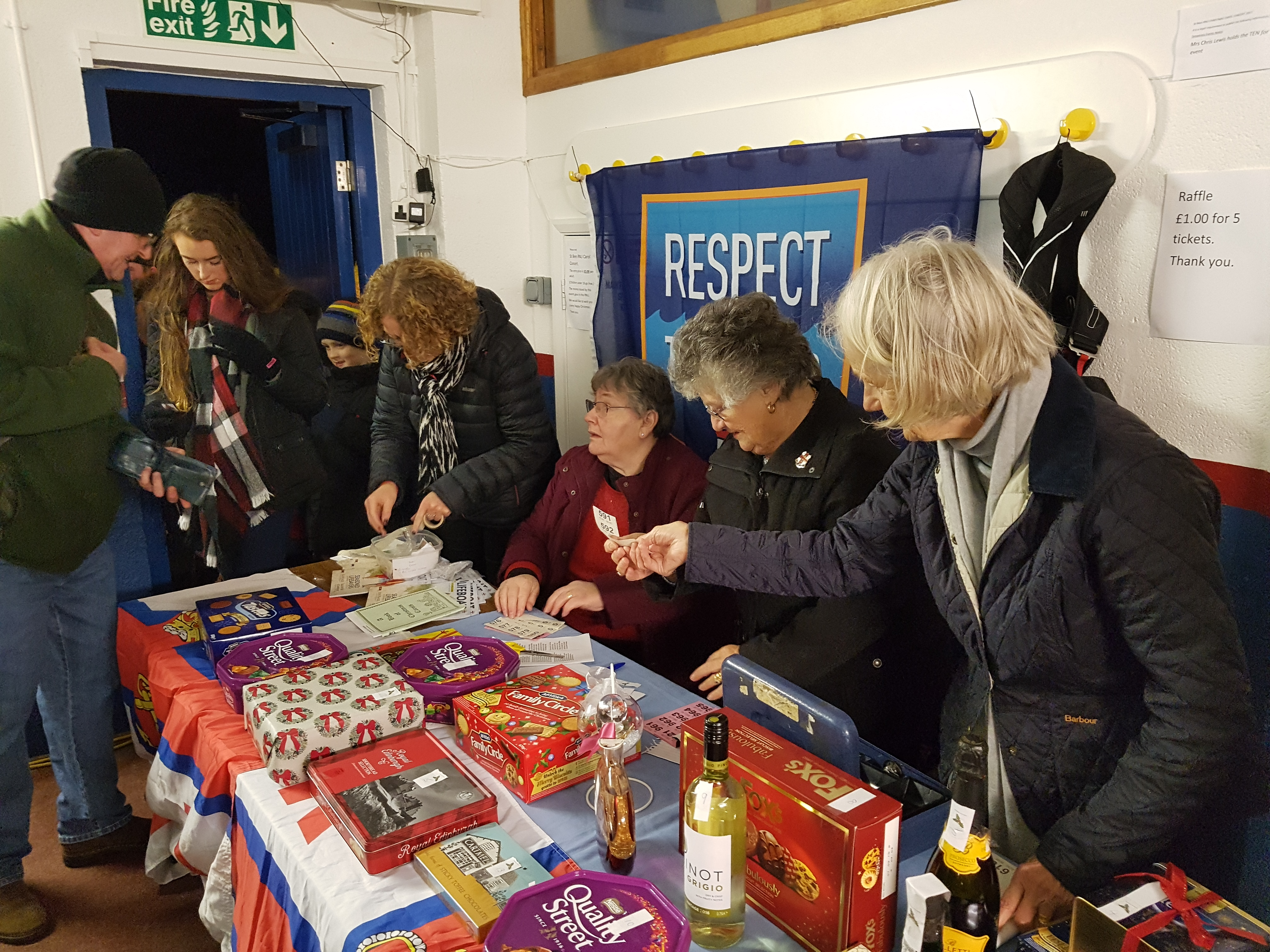 Members of St Bees Guild selling raffle tickets