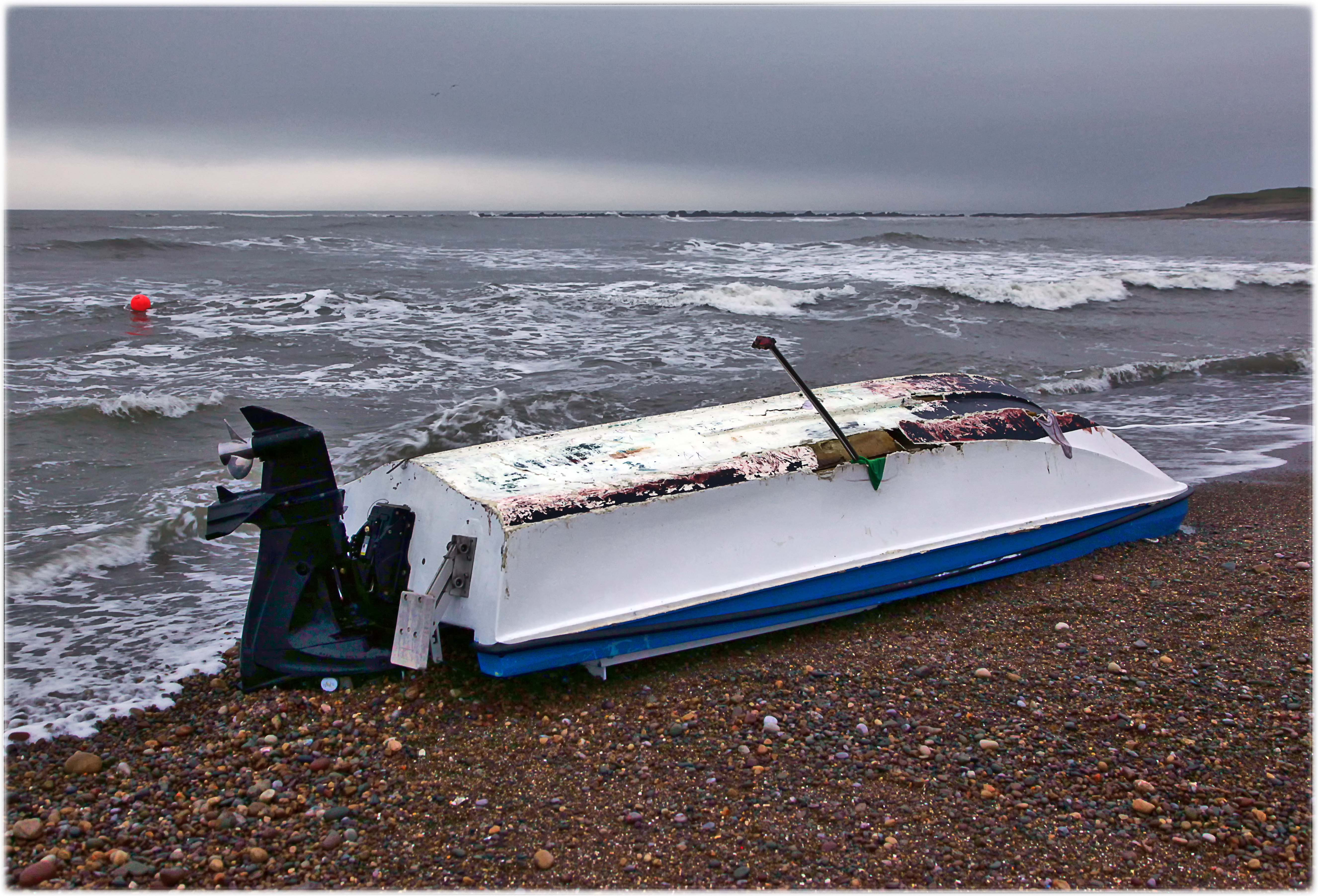 The casualty vessel the following morning at Sker Point