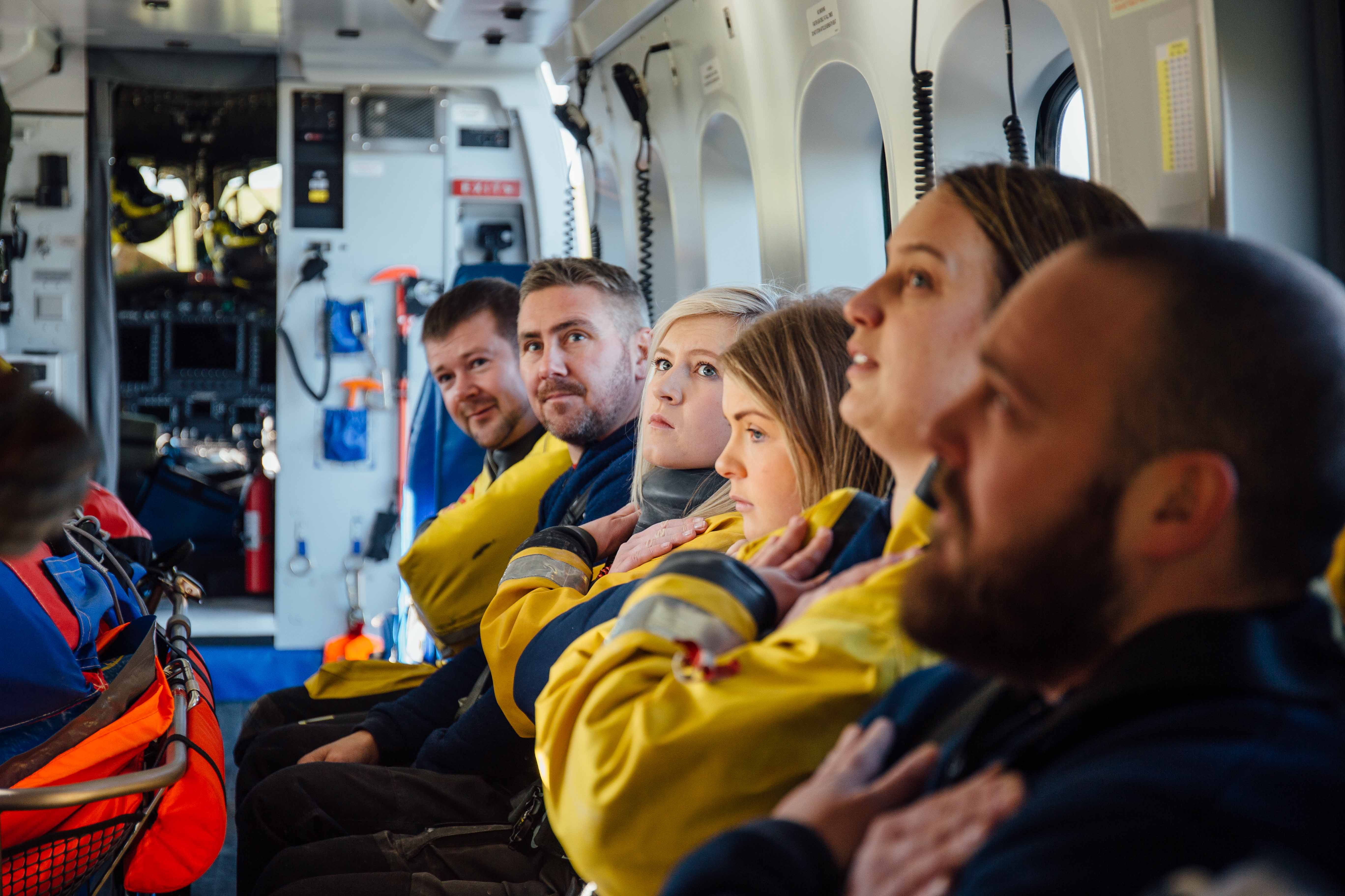 Kinghorn crew is briefed on UK Coastguard helicopter from Prestwick