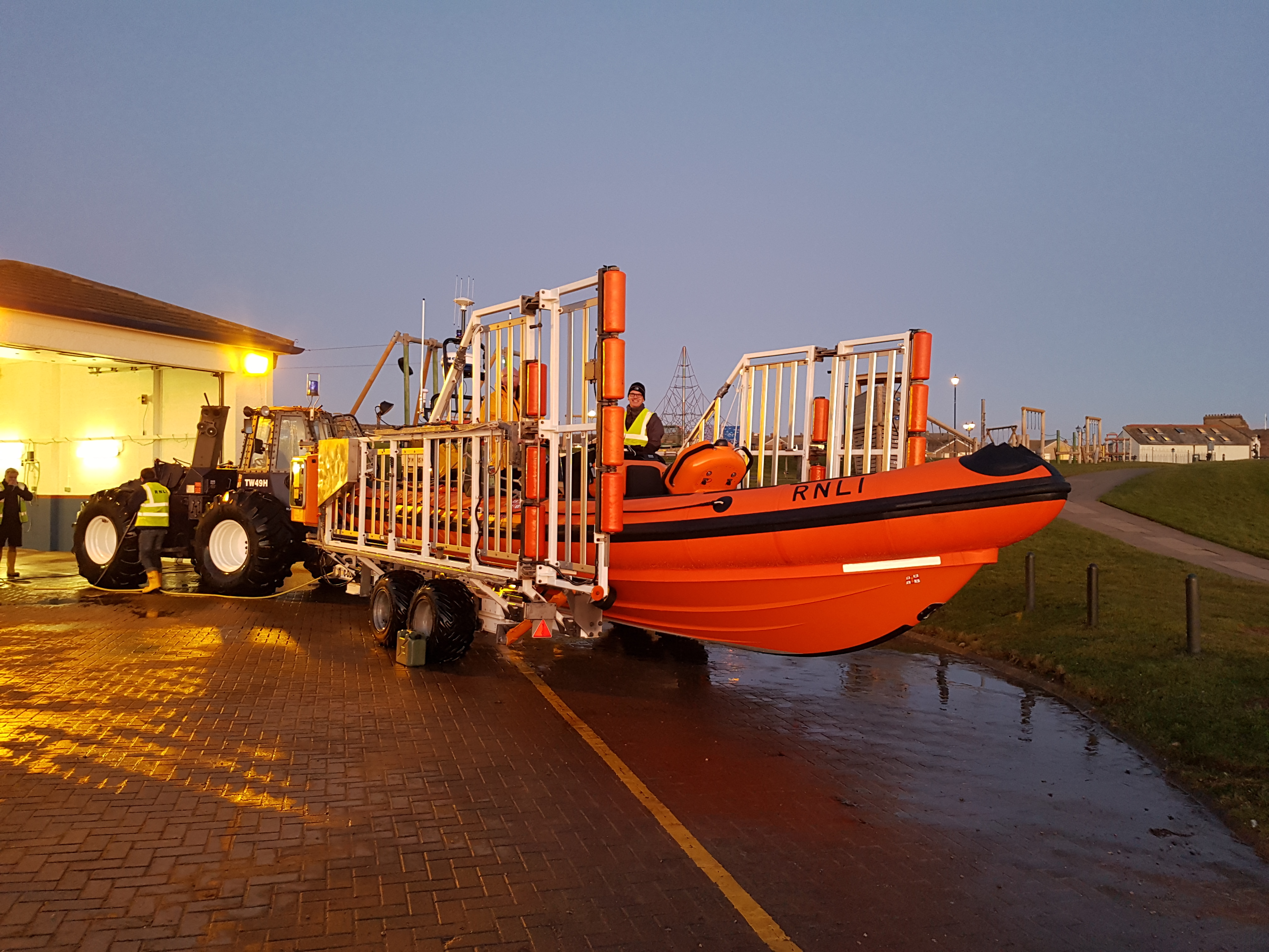 After a cold afternoon search around Whitehaven Harbour the lifeboat is returned to the station and made ready for the next call out