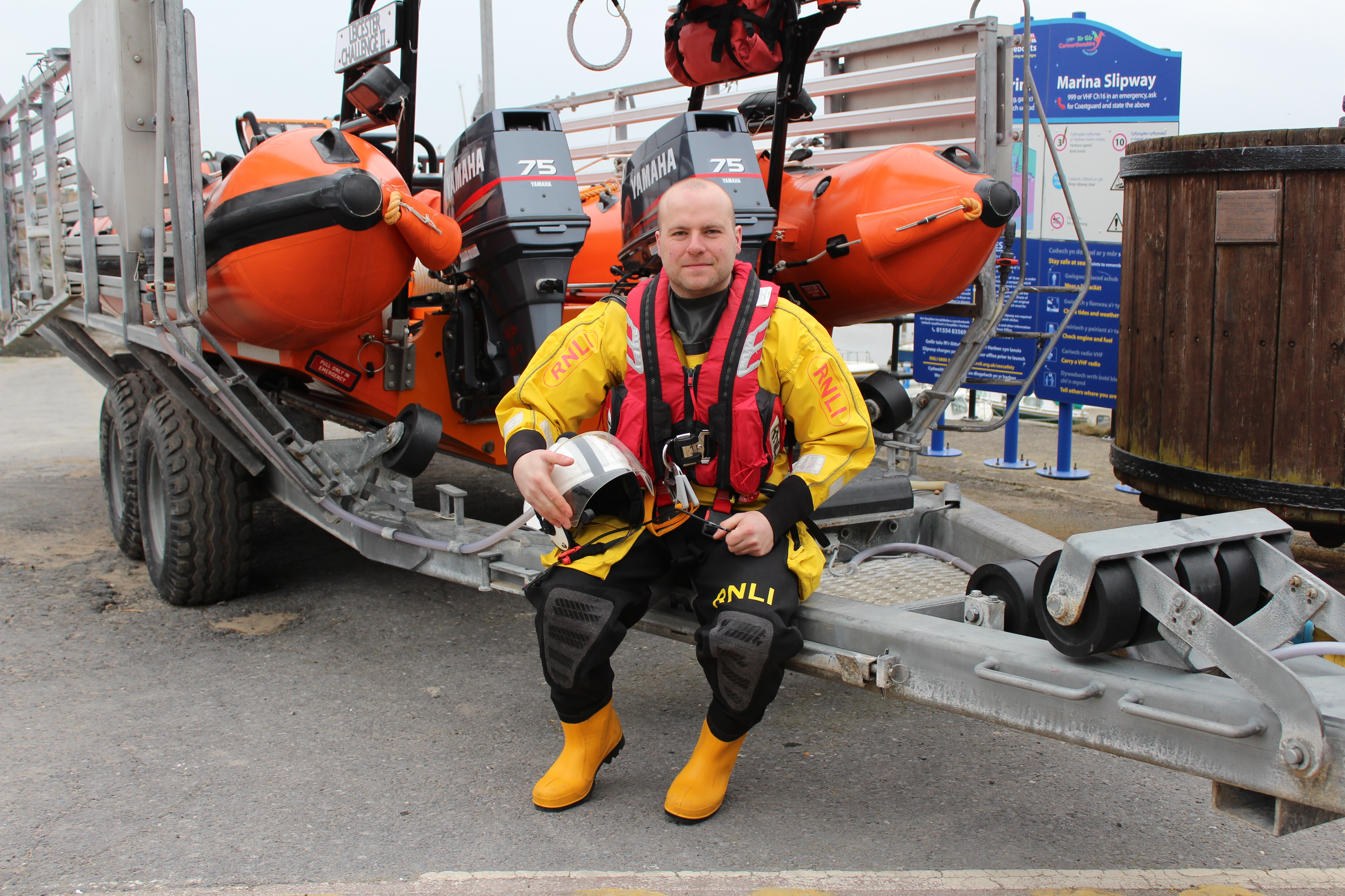 Helmsman Rob Davies with Burry Port Lifeboat 'Leicester Challenge II'