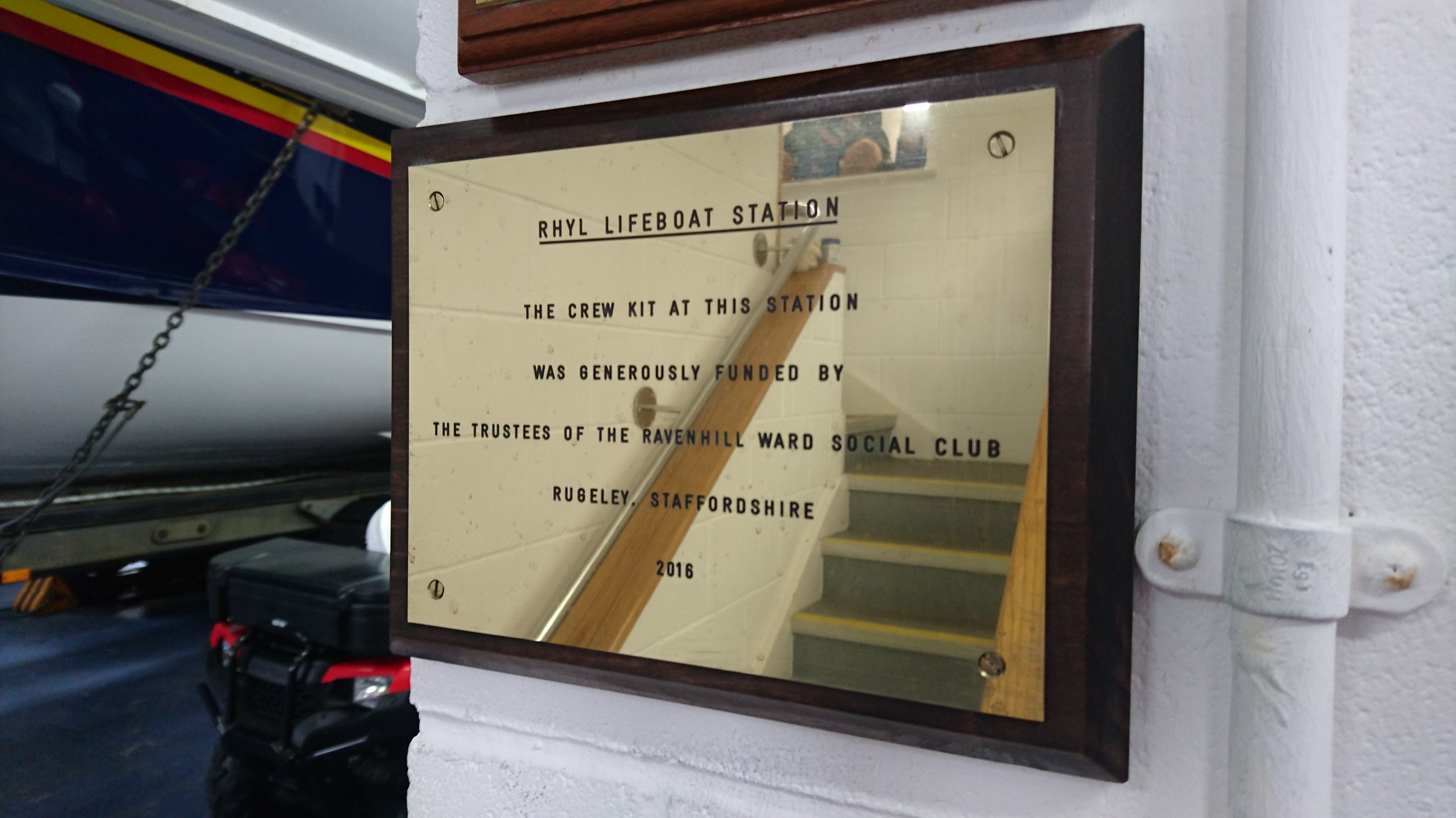 Plaque erected to show record of donation in Rhyl RNLI lifeboat station.