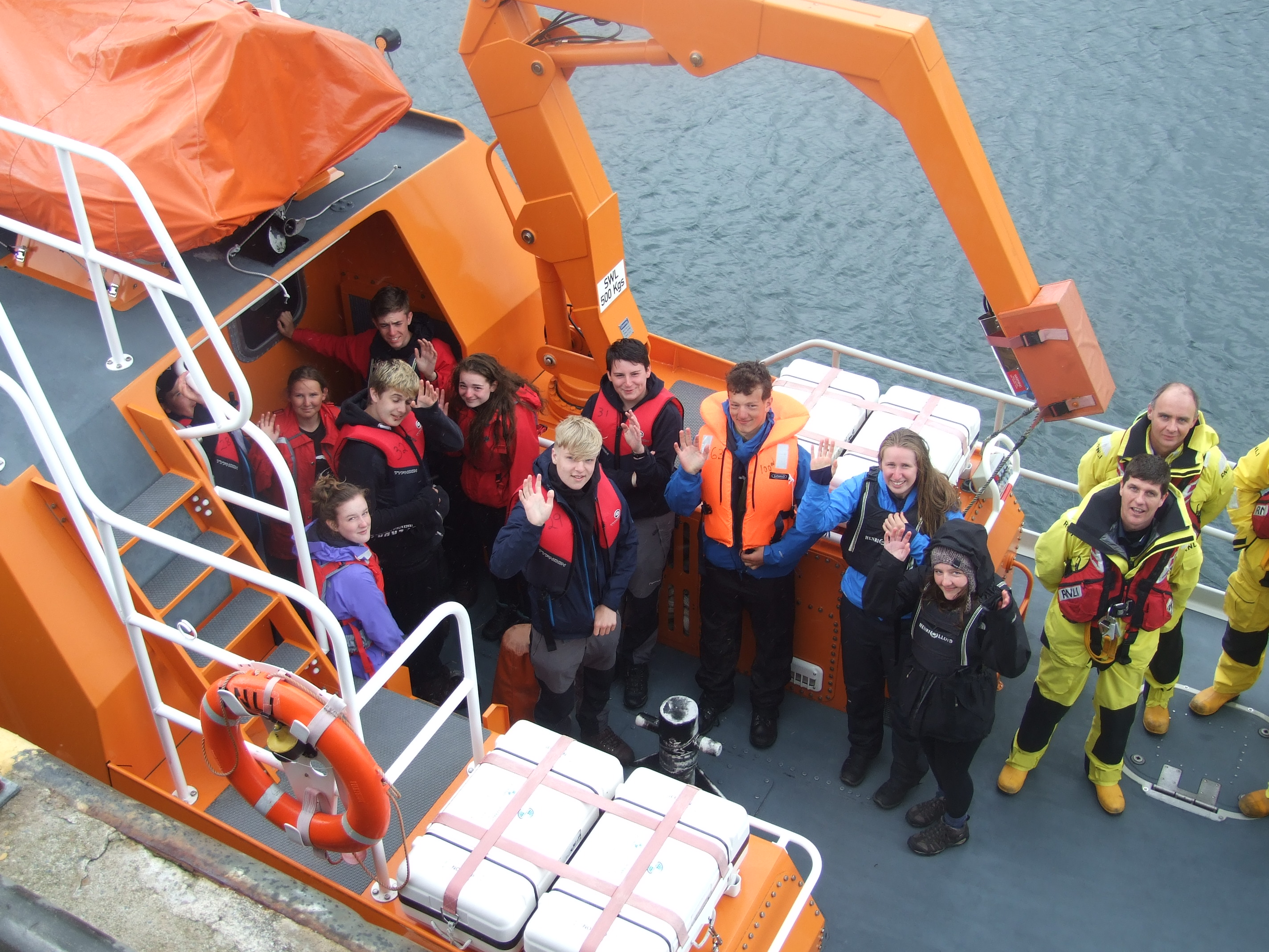 Pupils visiting RNLI Lochinver lifeboat