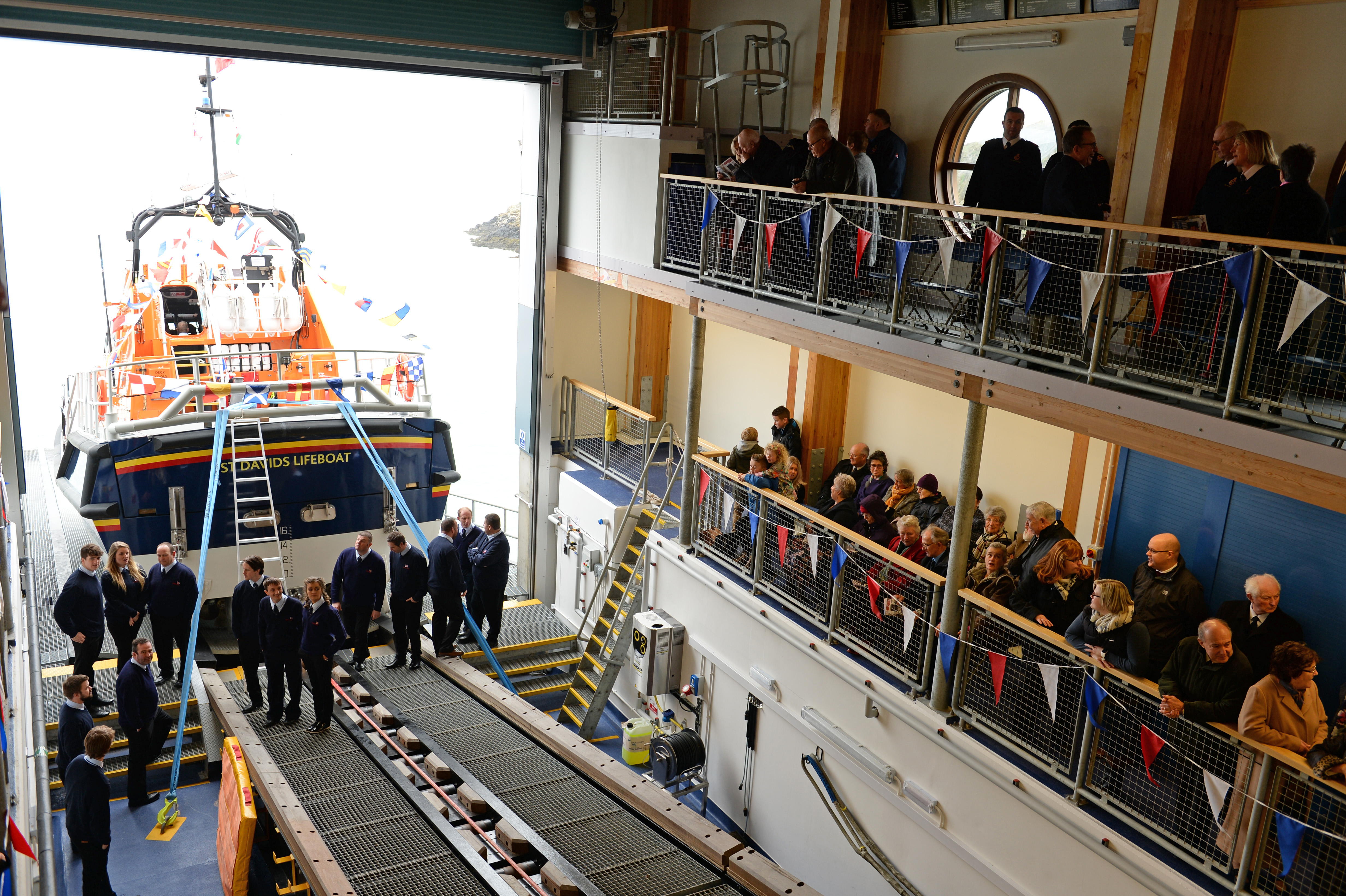 Guests gather ready for the naming of St Davids new Tamar class lifeboat and official opening of the RNLI boathouse.