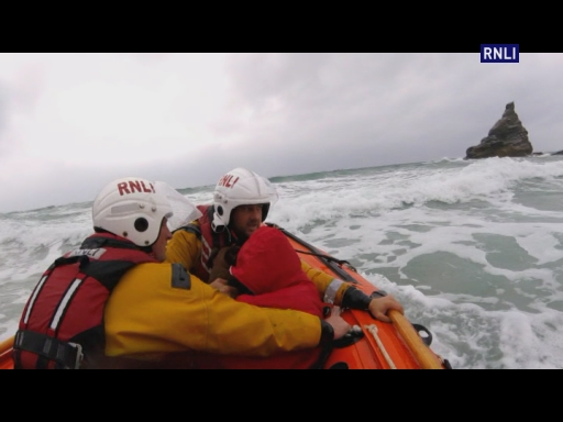 Newquay RNLI lifeboat volunteers rescue woman & her boxer Cooper, trapped by the tide at Bedruthan Steps, three hours before high tide