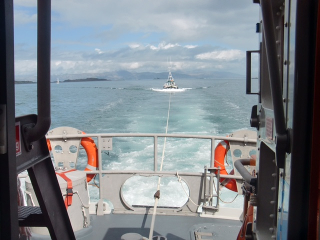 Oban lifeboat towing the fishing vessel