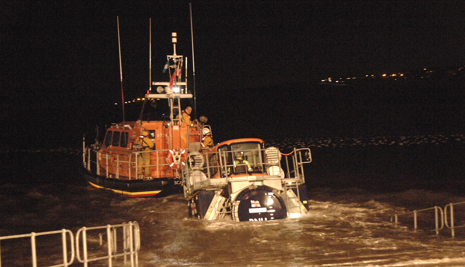 The Shannon being launched at night earlier this year