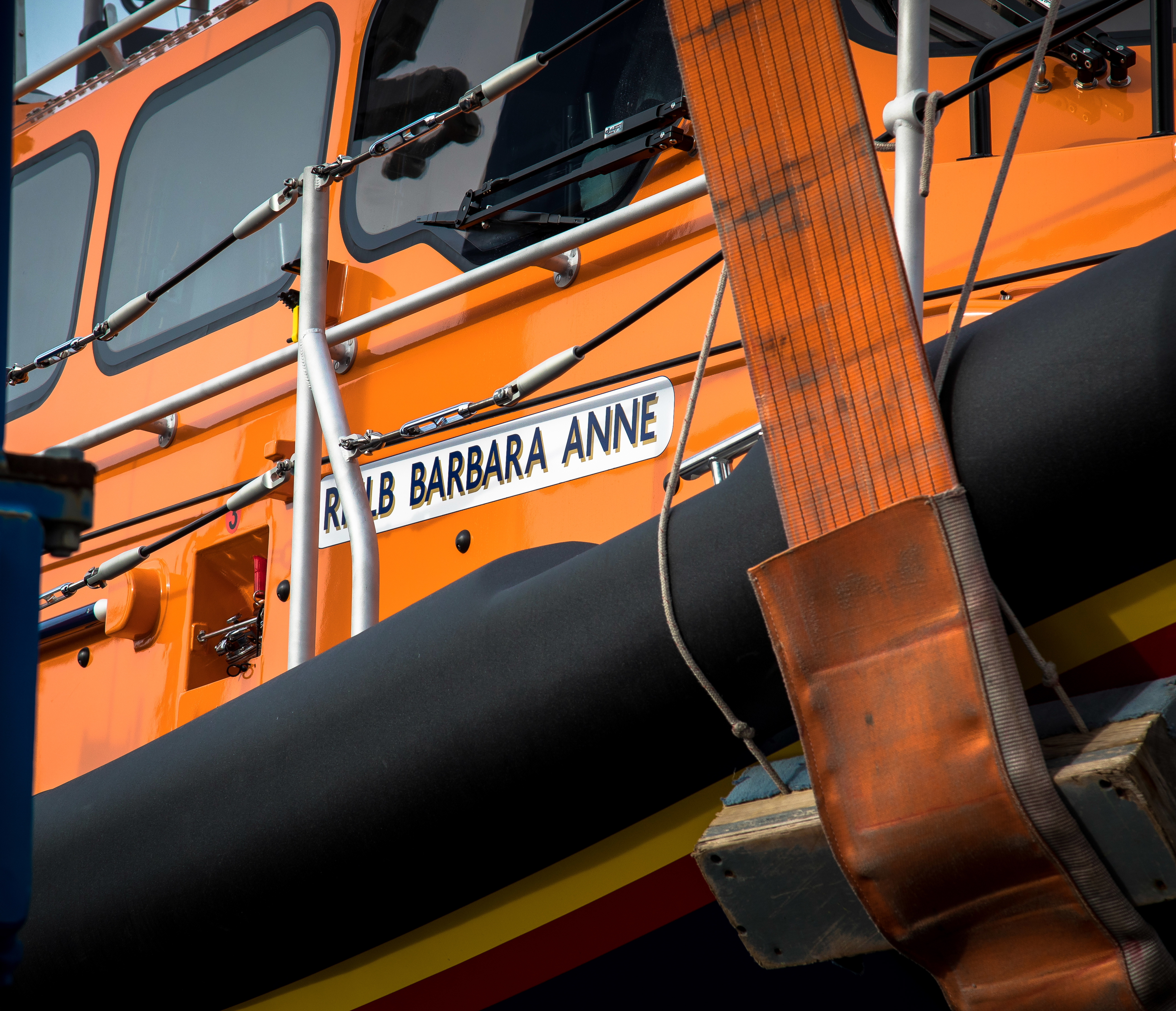 "the wheelhouse of the lifeboat showing her name ""Barbara Anne"""