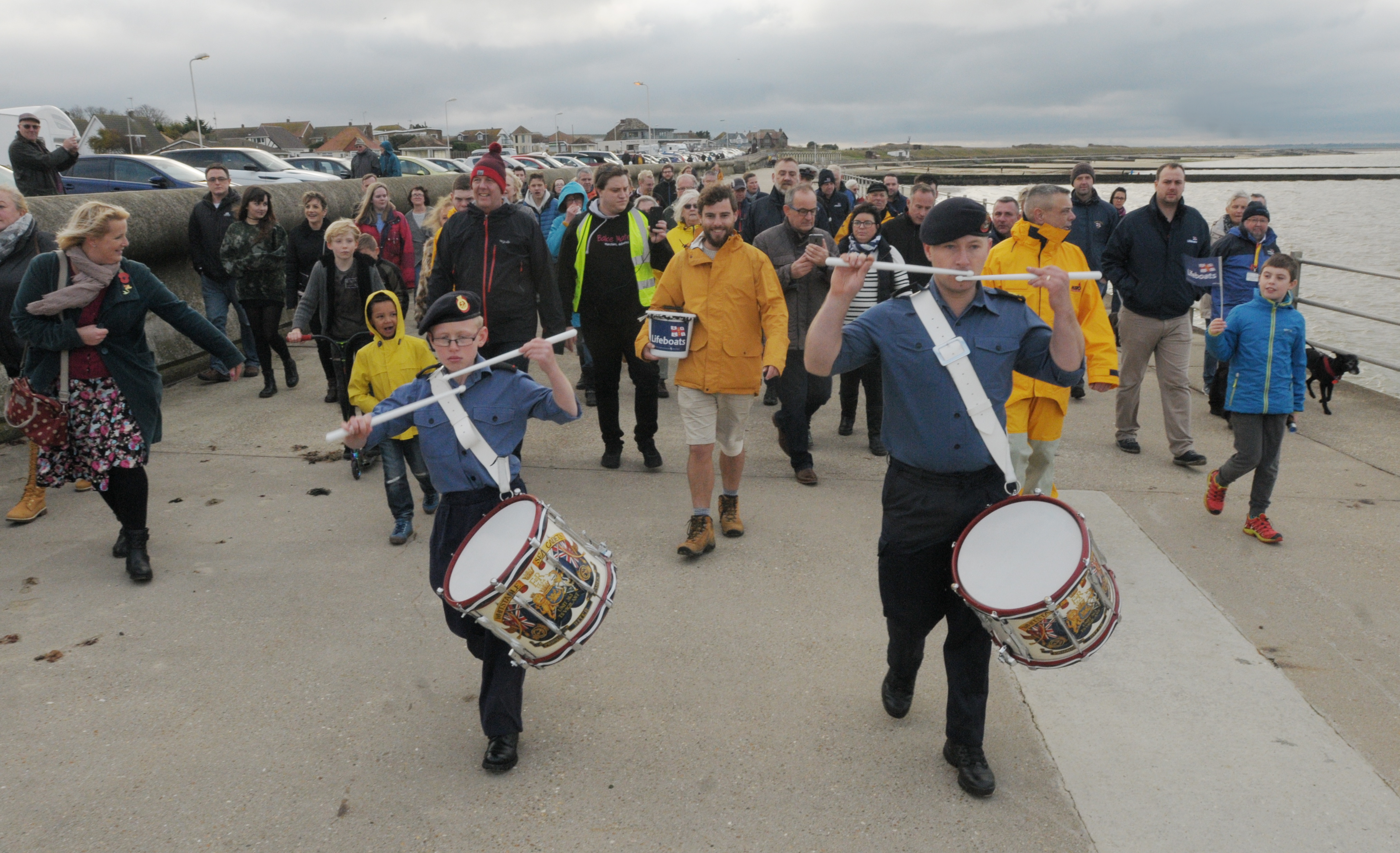 Whistable Sea Cadets Drum Corps welcome Alex home