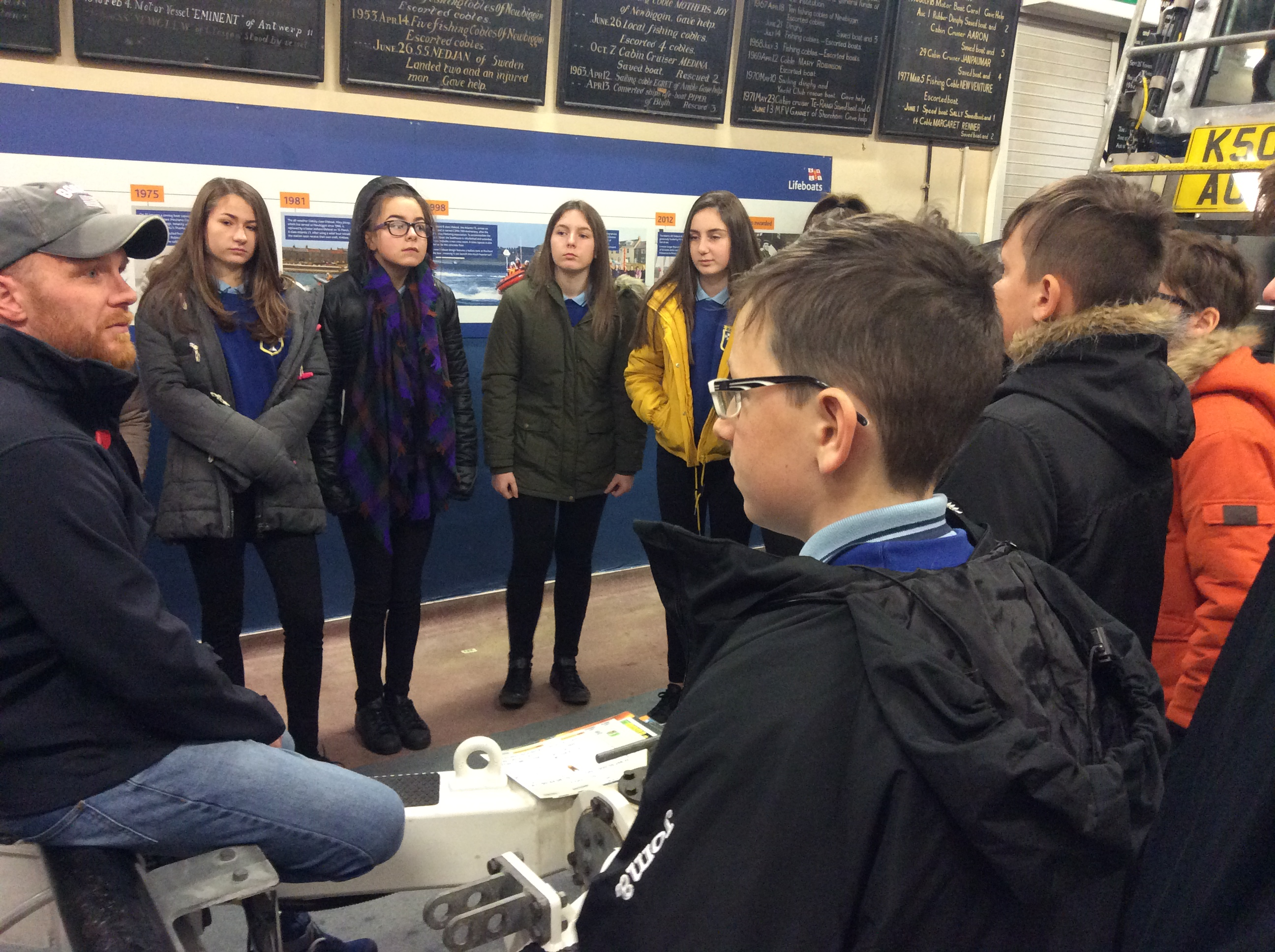 Staff and students had the opportunity to ask a range of questions on the lifeboat