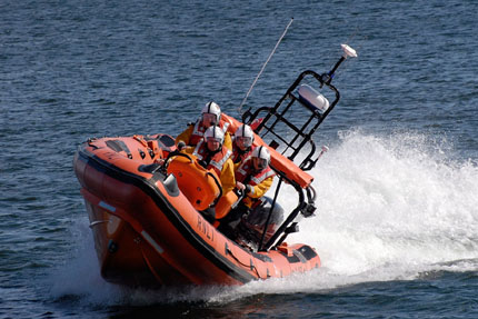 Atlantic 85 lifeboat heading out to sea.