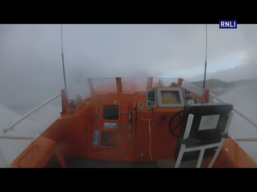 At 9.20am on Saturday 21st October, during storm Brian, Tenby's RNLI all-weather lifeboat Haydn Miller was launched following a report that somebody had been washed off the rocks by the large swell at Skrinkle. The volunteer crew made best speed to Skrinkle through huge seas, whilst being buffeted by 65mph gusts.