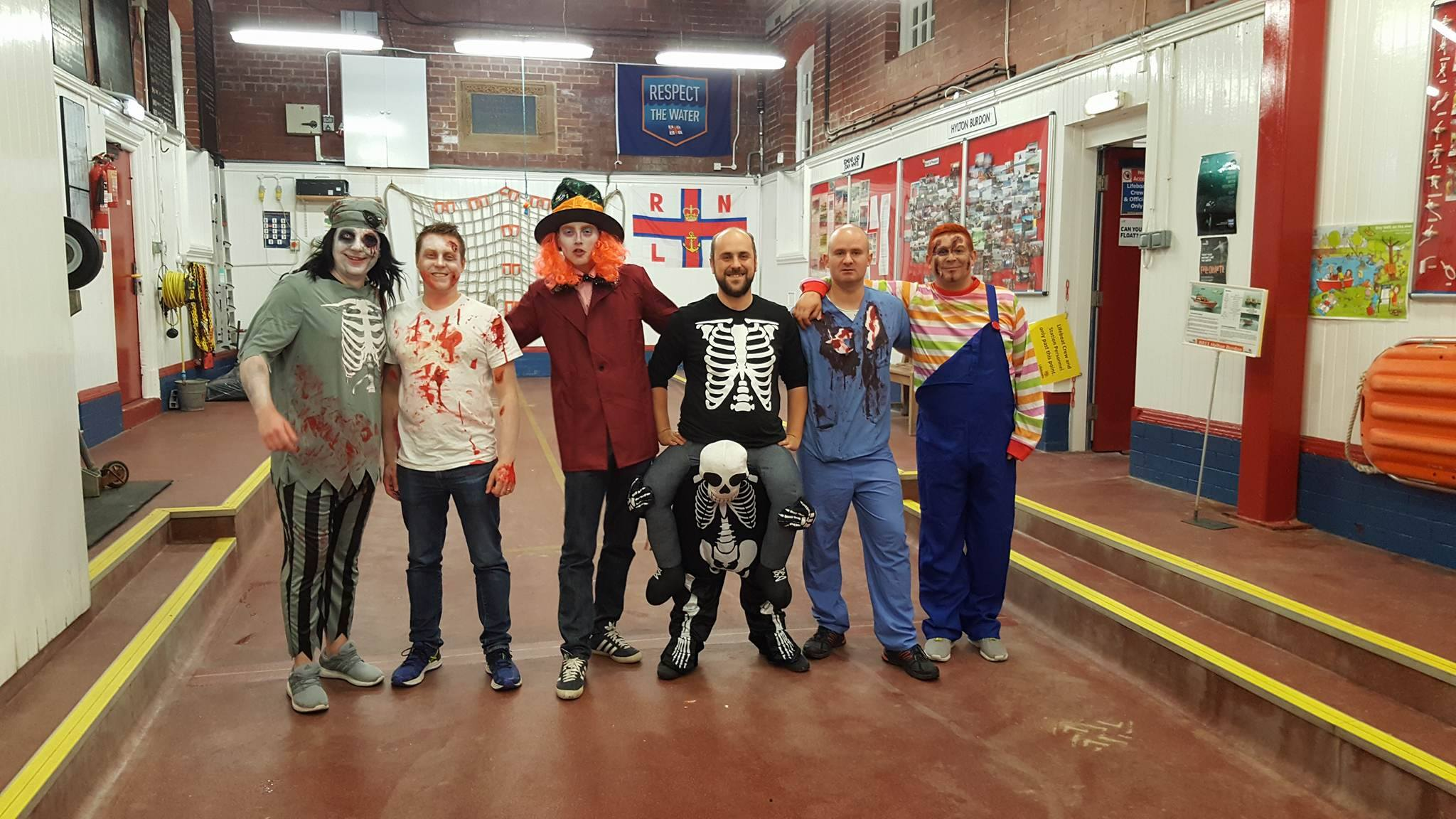 The Cullercoats RNLI lifeboat crew dashed from their Halloween party to answer the rescue call.