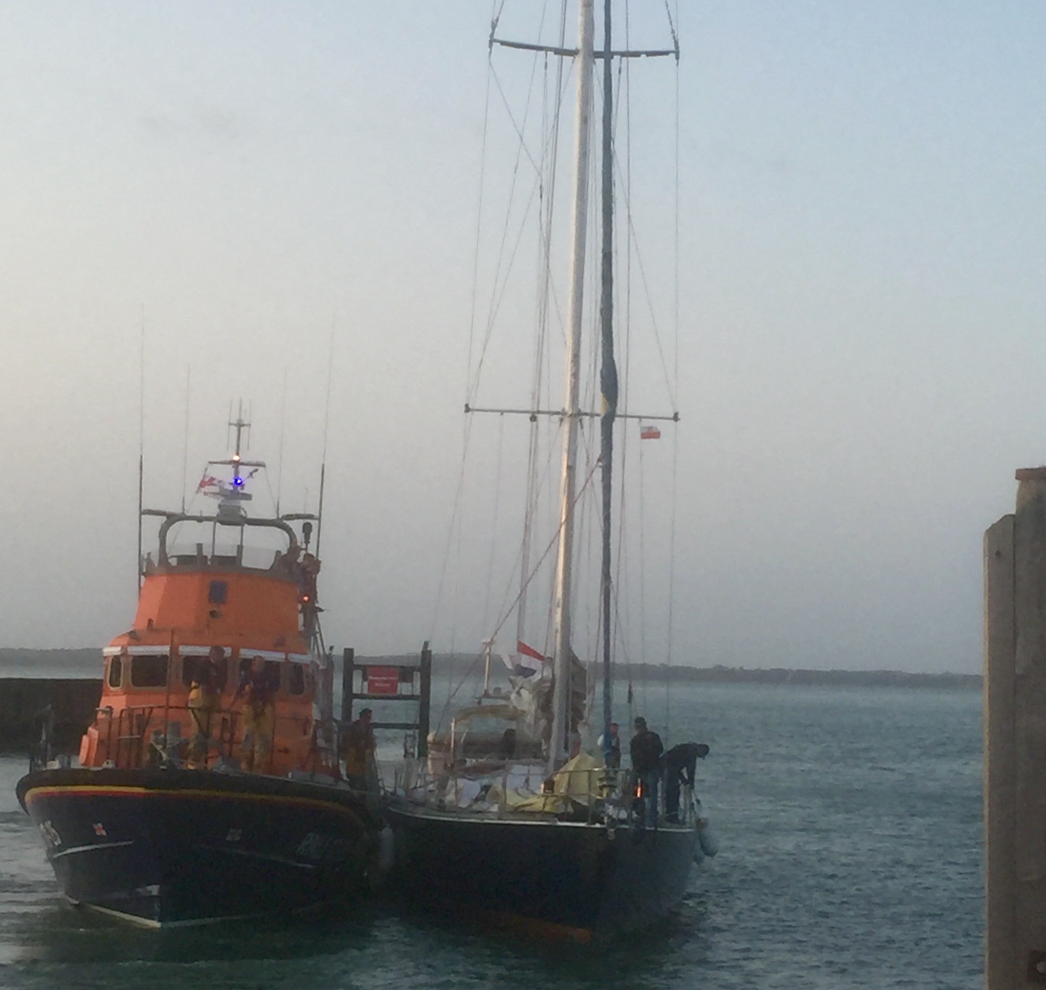 Yarmouth RNLI assists 67 foot yacht 'Elinca' into Yarmouth harbour