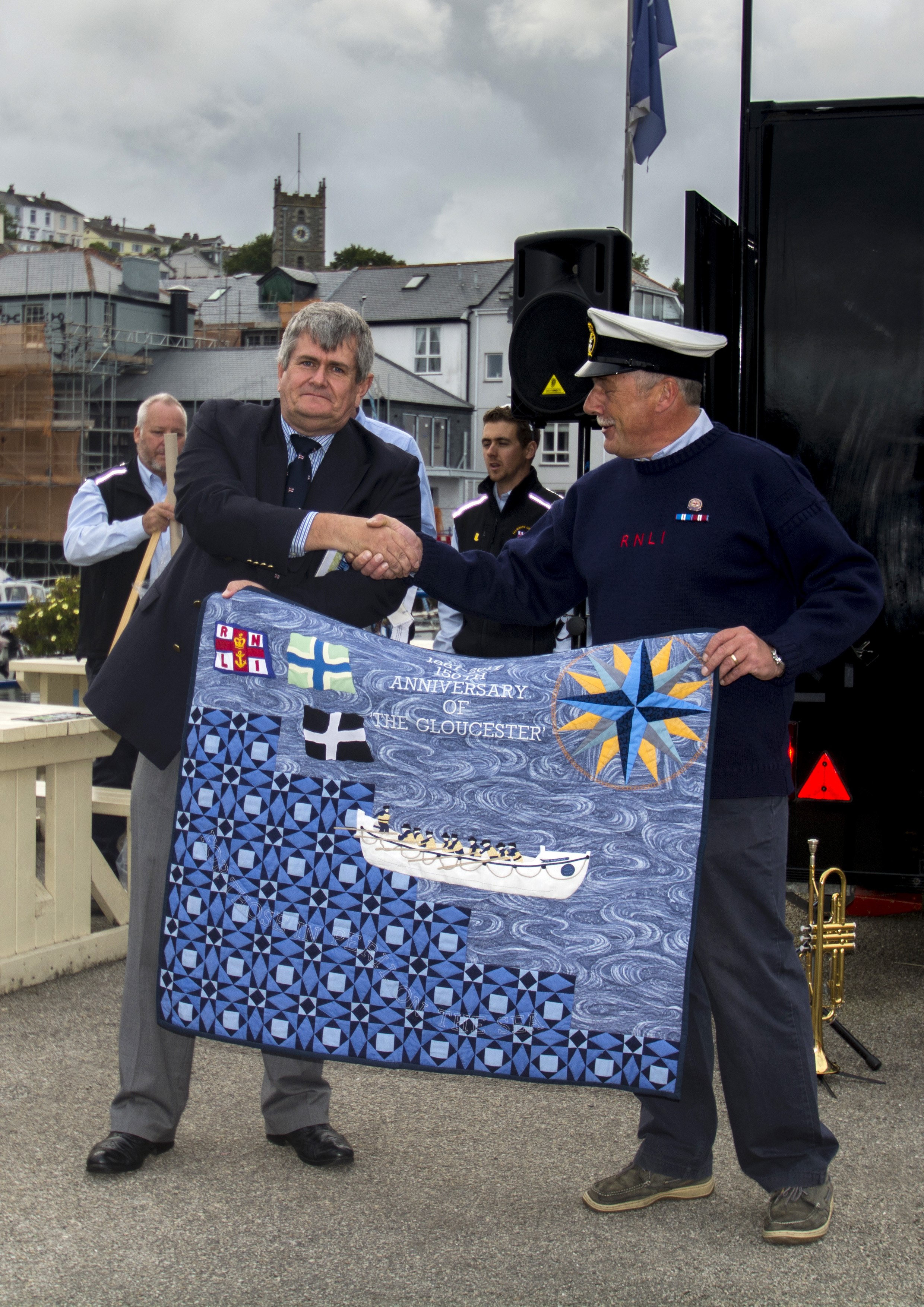 Presentation of quilt to Falmouth Coxswain