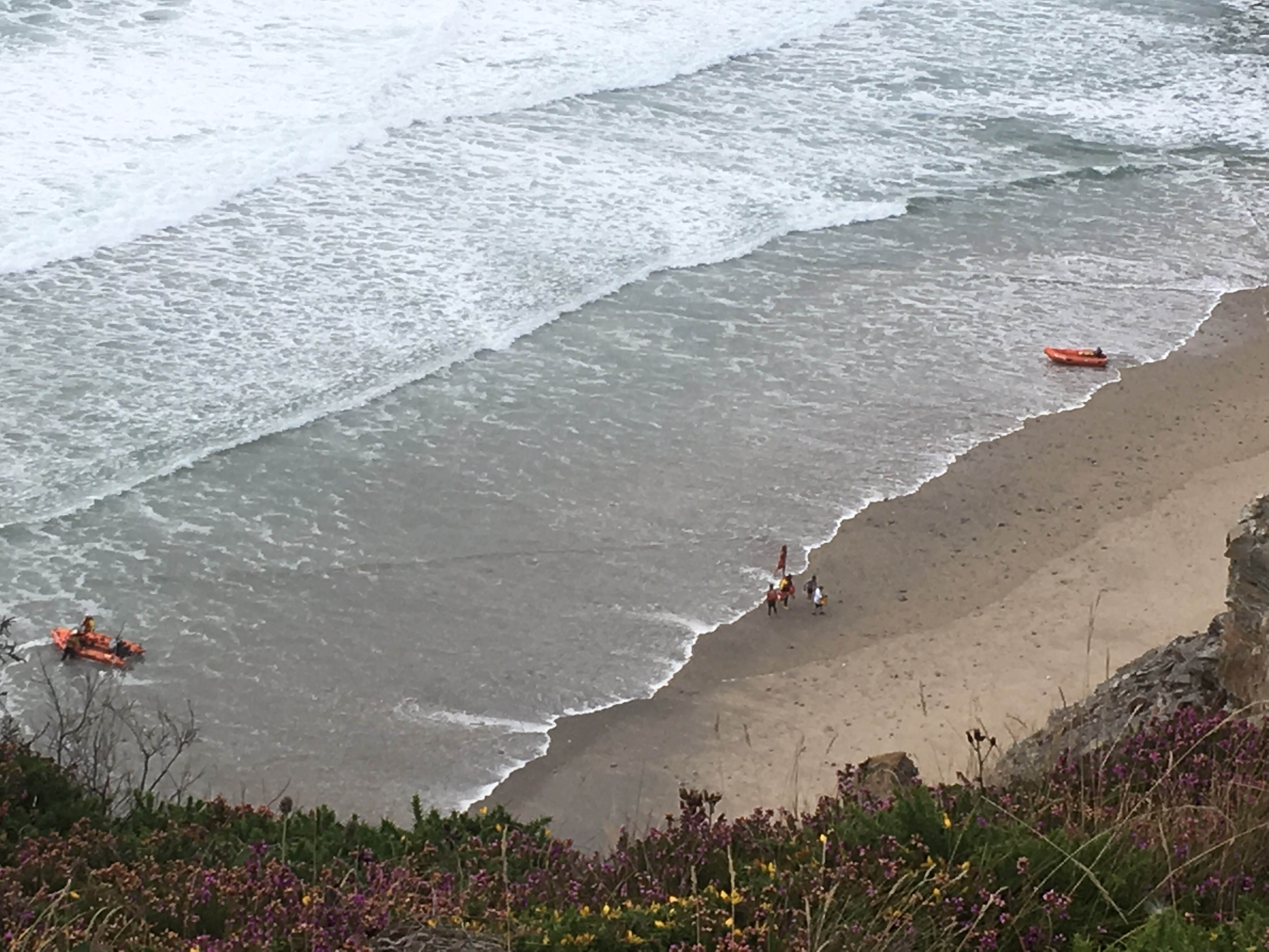 Looking down onto Lushington Cove. St.Agnes RNLI Lifeboat (Left) and Porthtowan Lifeguard Rescue Boat (Right).