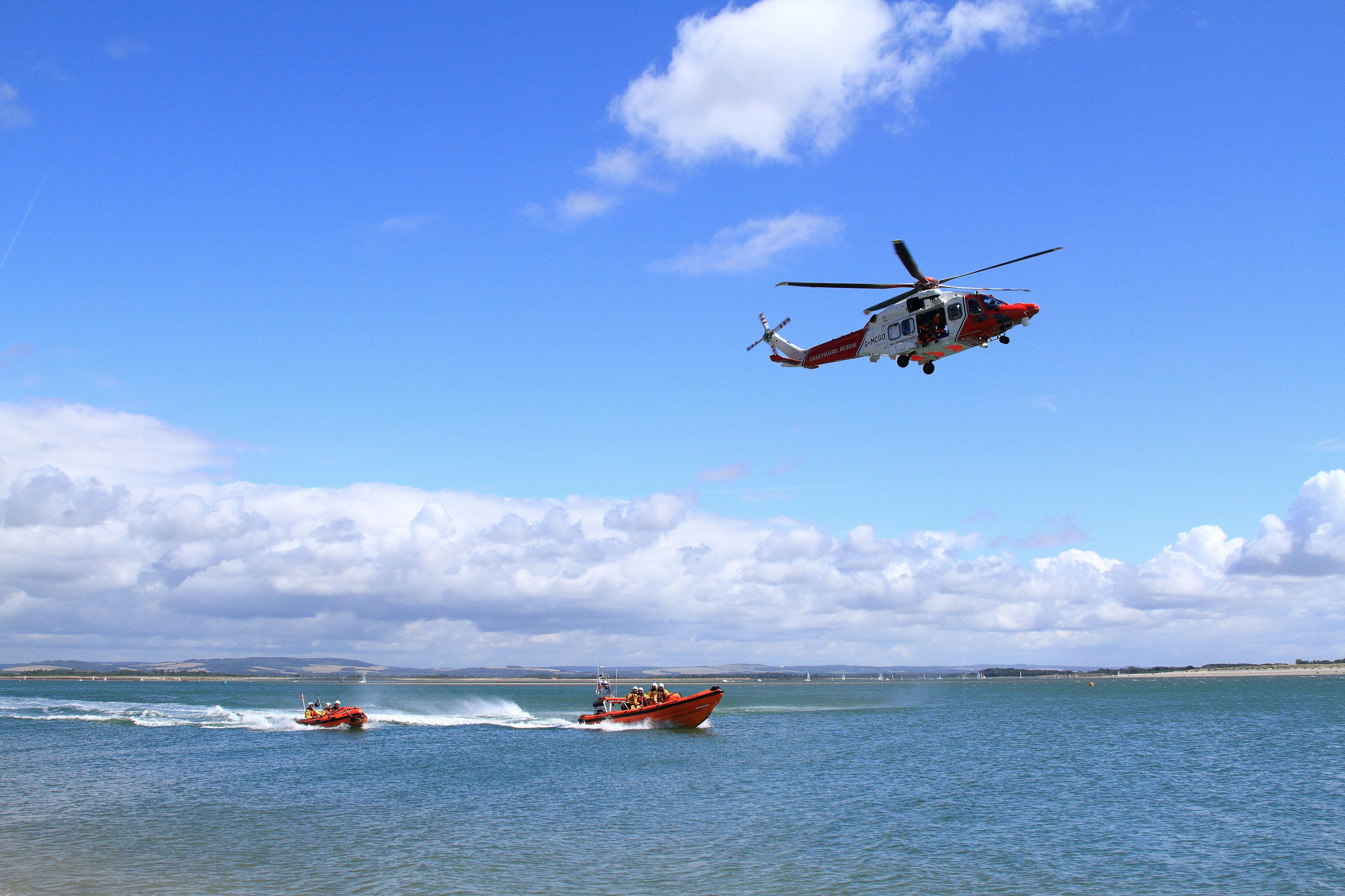 Two lifeboats and the Search and Rescue helicopter involved in the rescue of the lady.