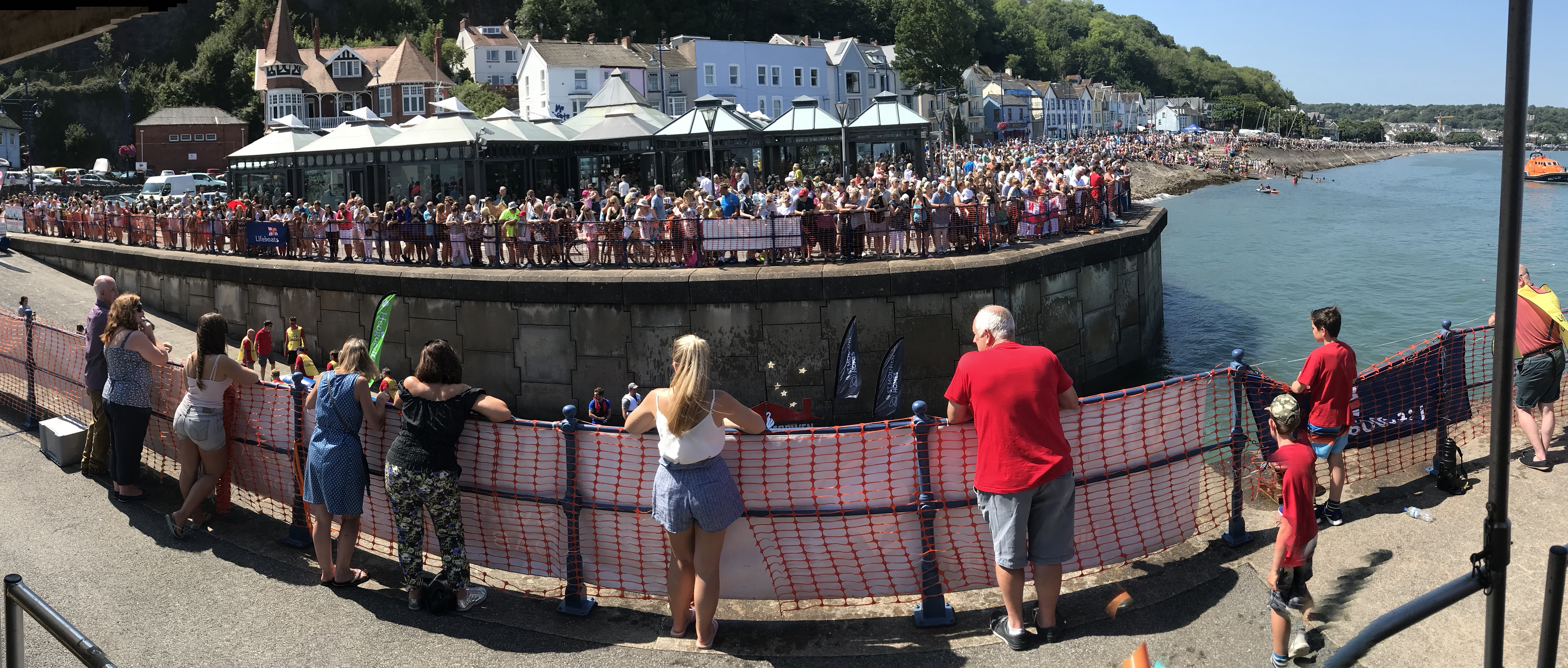 Large crowds attending the raft race
