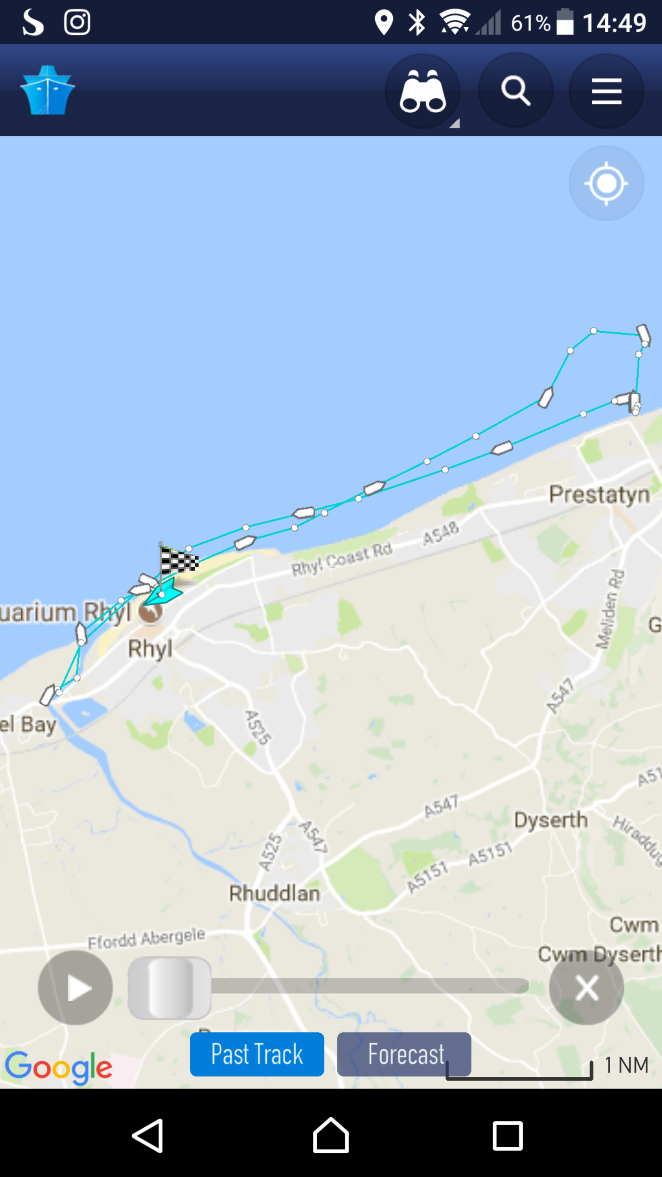 Track of Rhyl inshore lifeboat on hoax call