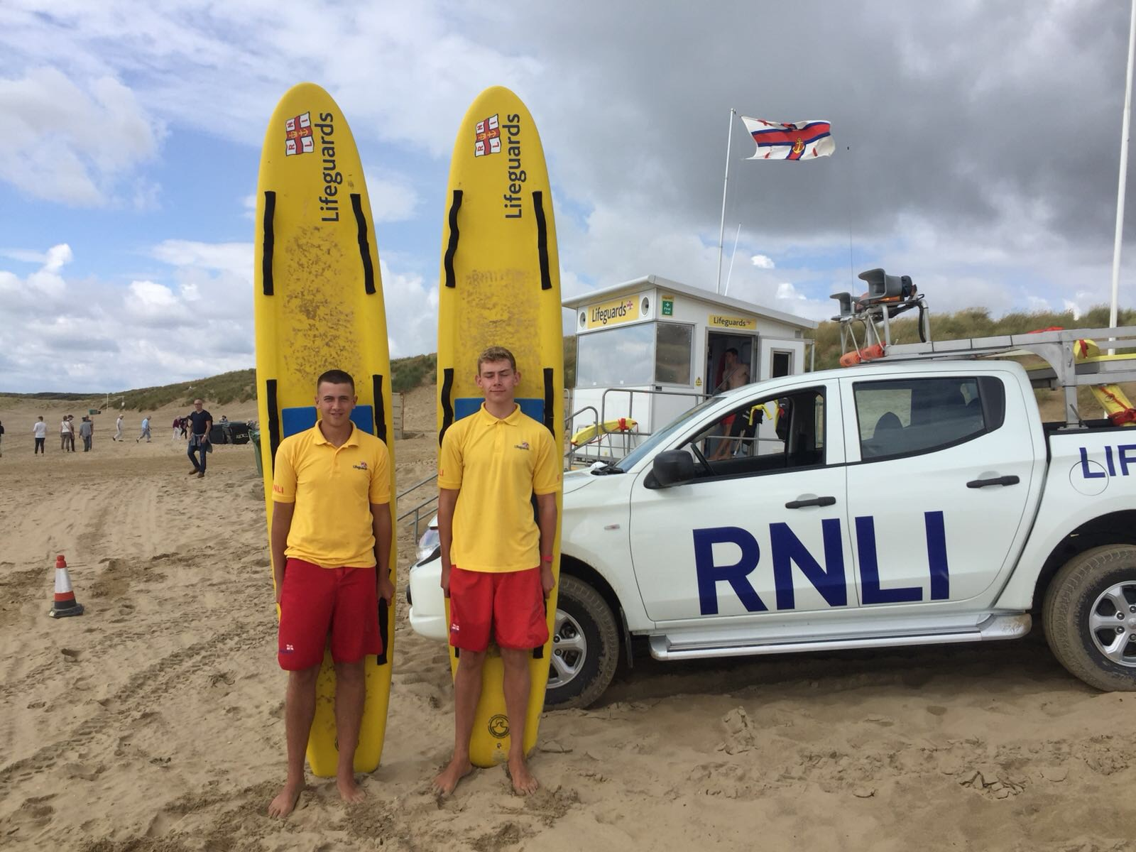 RNLI lifeguards Tom Bedford (left) and James Blything (right) on Camber Sands