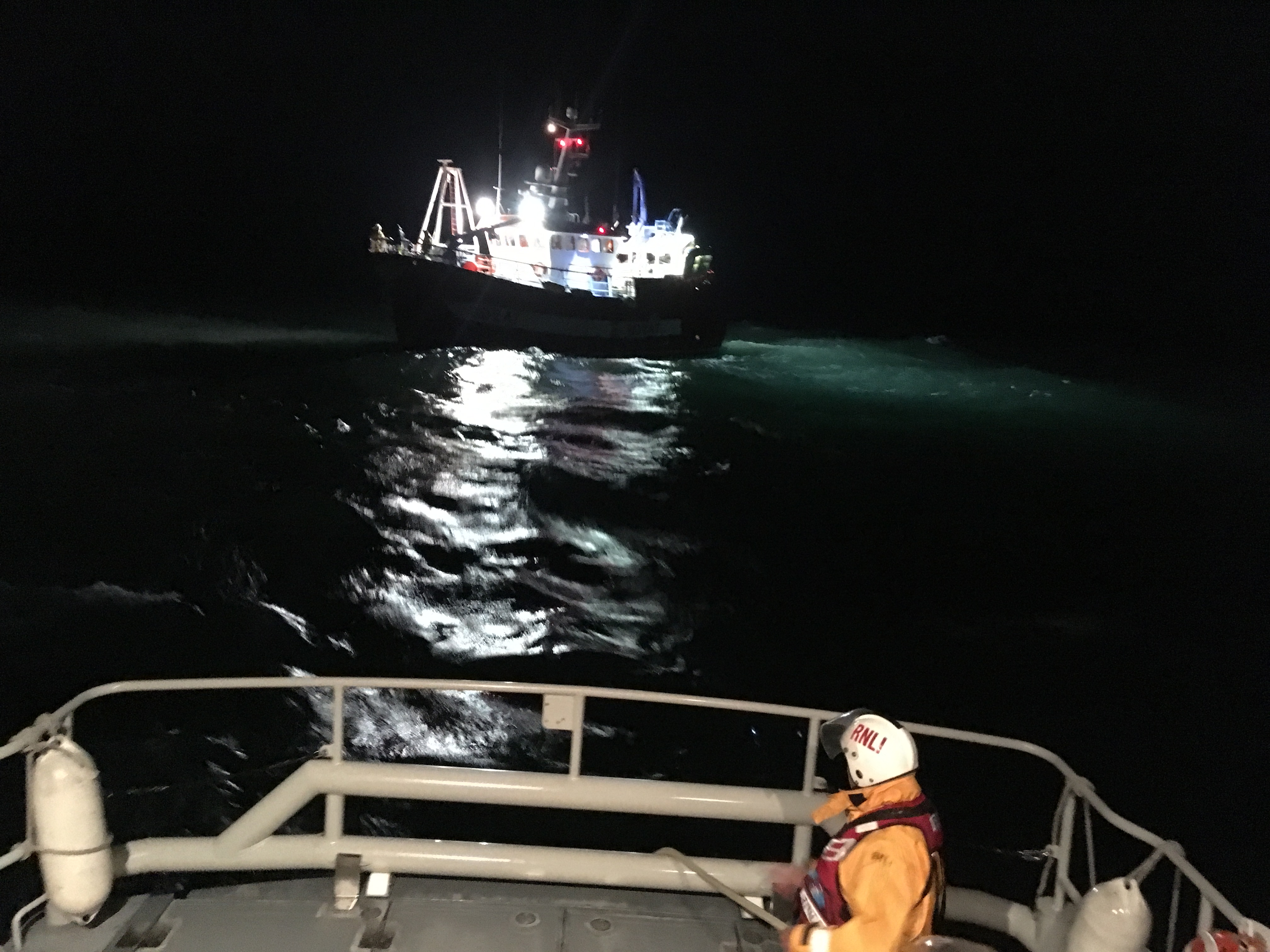 The Eastbourne lifeboat assists the fishing vessel.