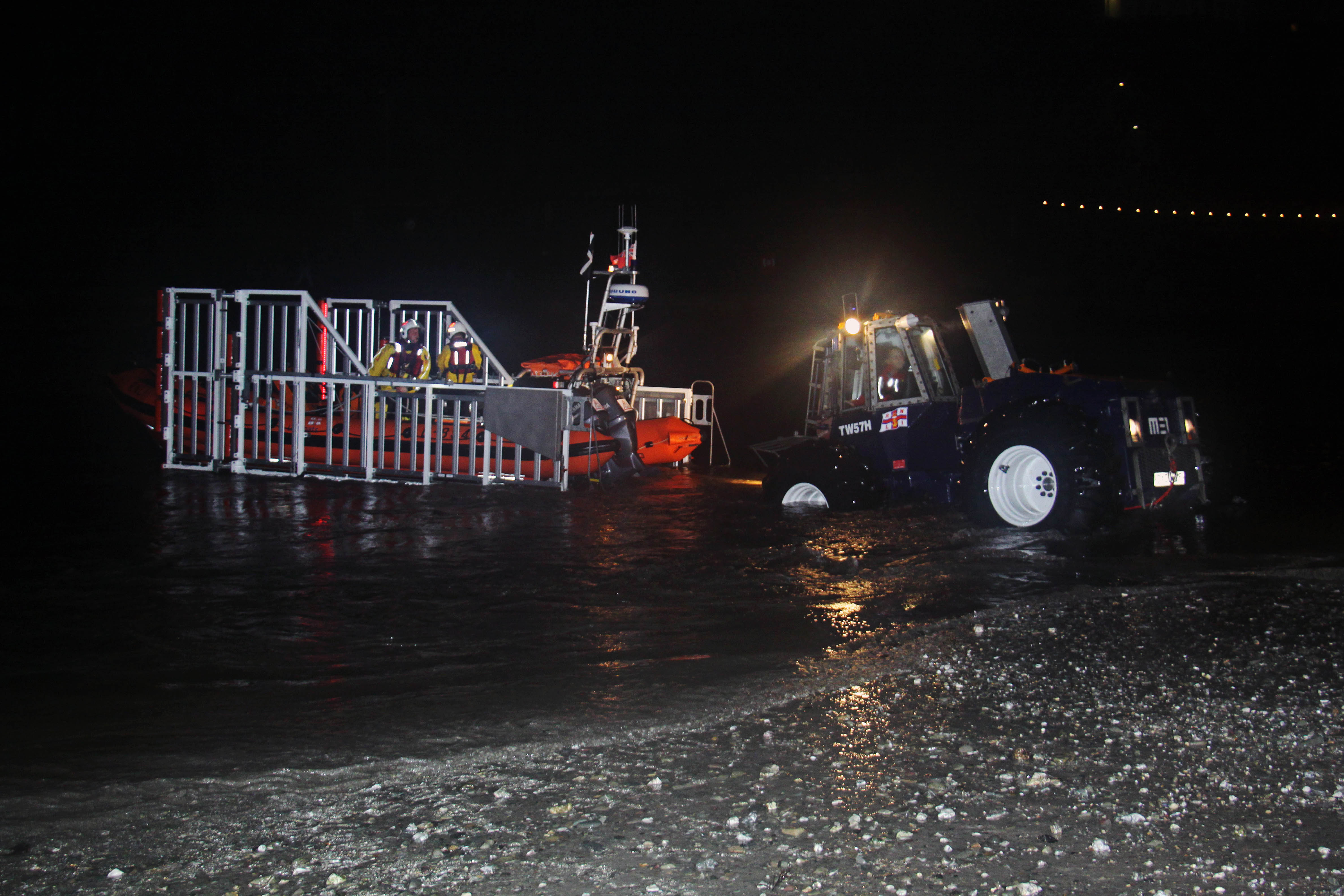 Night time recovery of Looe RNLI's Atlantic 85 Sheila and Dennis Tongue II