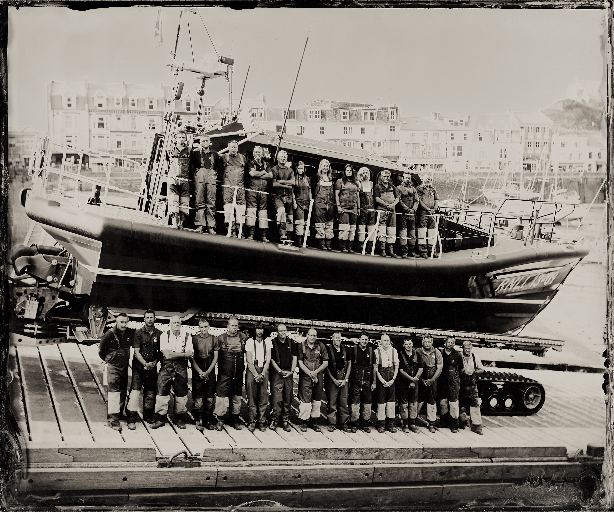 A glass plate image of the volunteers of Ilfracombe RNLI - soon to be on show at Poole Museum.