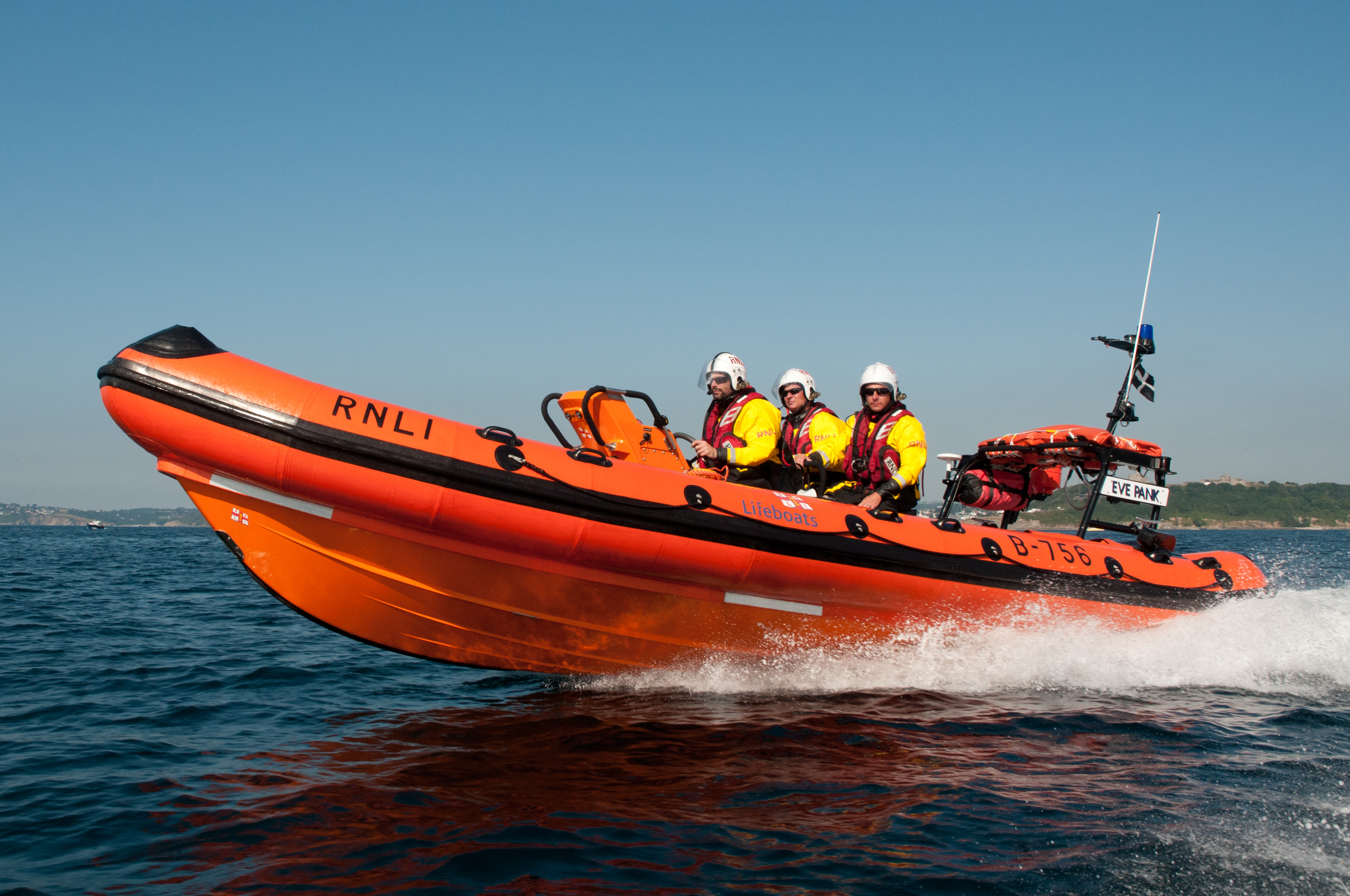 Falmouth's Atlantic 75 inshore lifeboat Eve Pank on exercise in Falmouth Bay earlier in the year