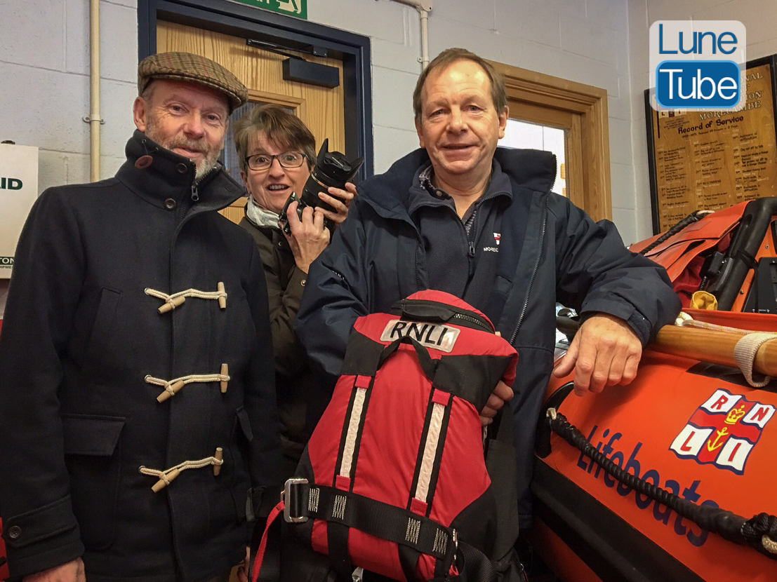 LuneTube presenter Peter Wade, Director Janine Bebbington and Colin Midwinter of Morecambe RNLI