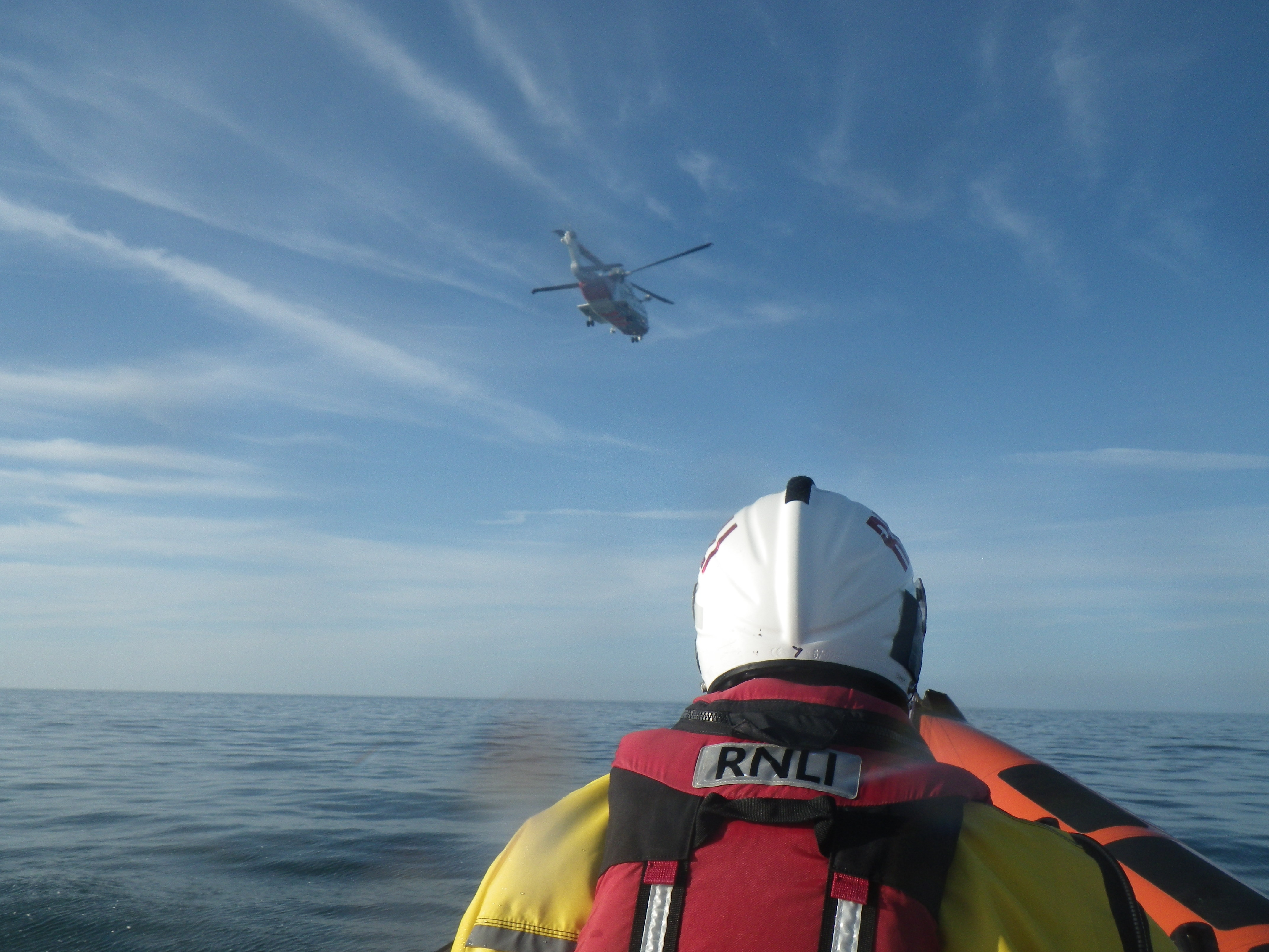 Rescue 936 (Helicopter) view from Beaumaris Lifeboat