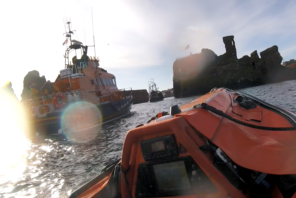 Dunbar's ILB and ALB lifeboats escort fishing boat to harbour.