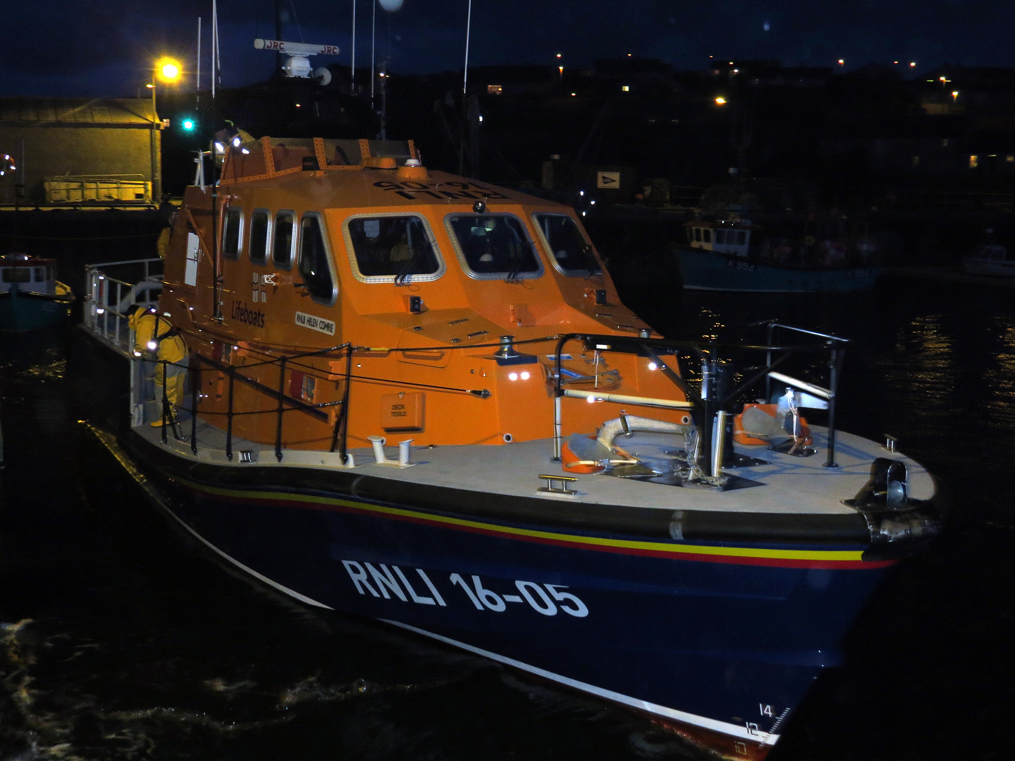 RNLI Longhope Lifeboat leaving station tonight on service
