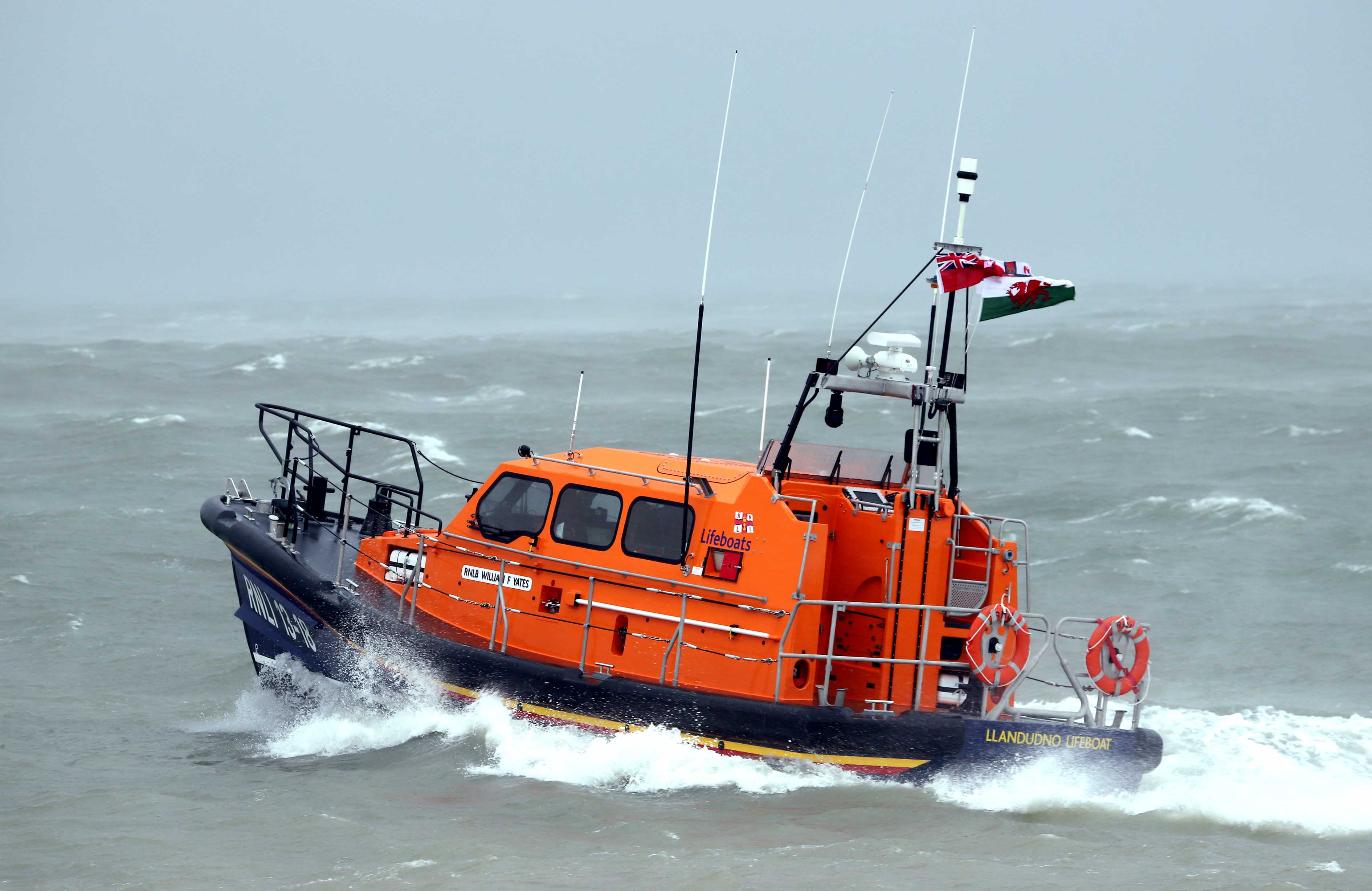 In 2017 lifeboat crews from Flint to Penarth launched 1,082 times.Pictured is Llandudno RNLI lifeboat.