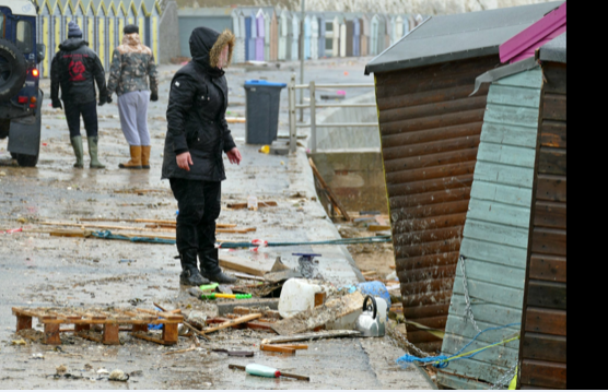 Many beach huts were damaged in the storm.