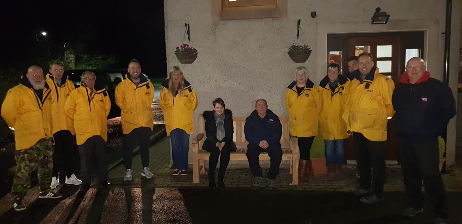 Pictured with Berwick RNLI Heather Dixon presenting a seat in memory of her father Billy Shearer.