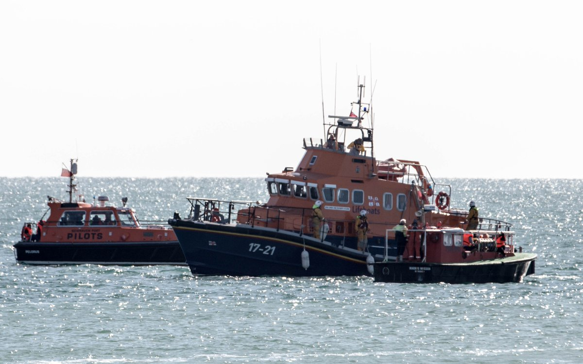 Photo of the Newhaven Severn class lifeboat taking part in Operation Dolphin.