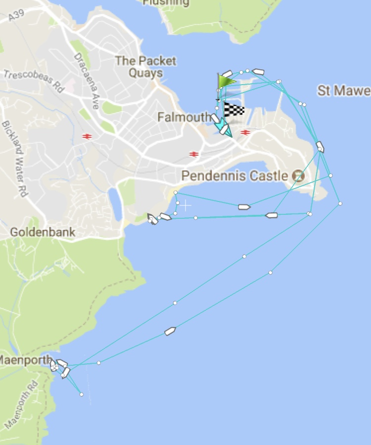 Marine Traffic tracker of inshore lifeboat showing the location of the two shouts