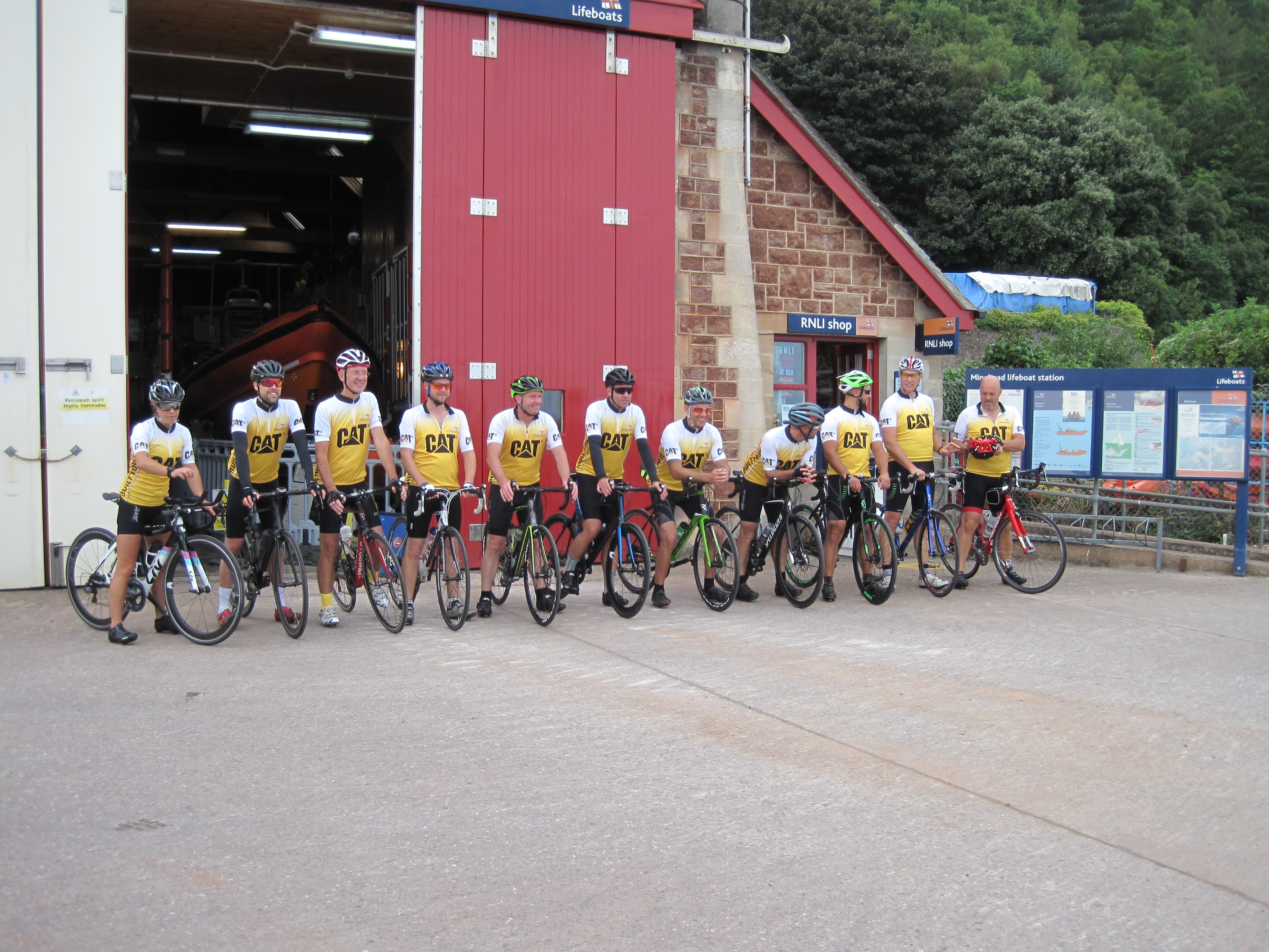 Appledore RNLI's Tour de Yellow Welly make it to Minehead Lifeboat Station