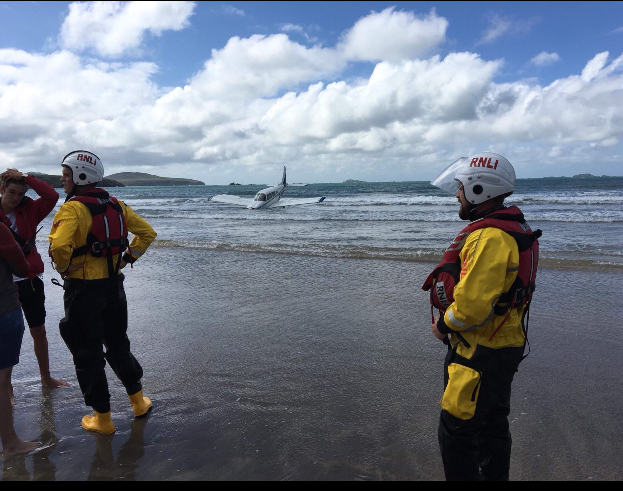 St Davids inshore RNLI lifeboat was launched at 1.20pm to offer assistance during the multi-agency operation.